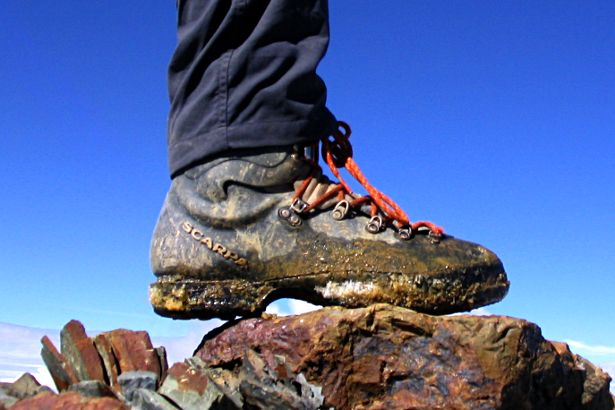 Mountain boot on summit