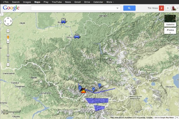 Google Map for my Altai Mountaineering Expedition