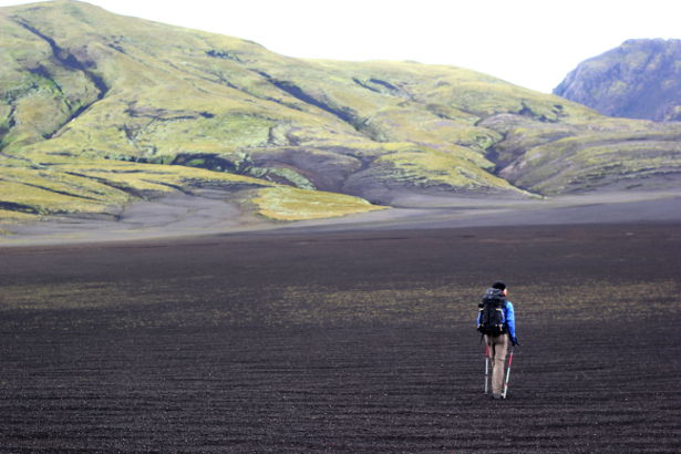 Hiking through volcanic ash in Iceland