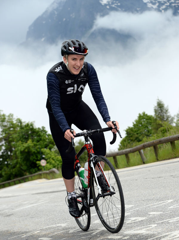 Mikey Bartley cycling up Alp d'Huez