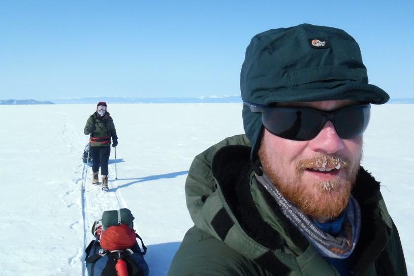 Crossing frozen Lake Baikal