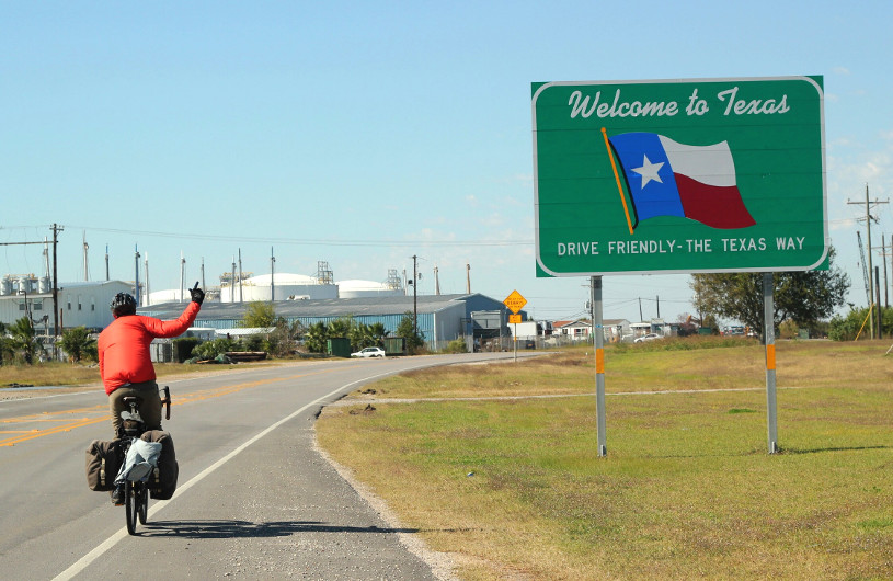 Arriving into Texas - Cycling around the world