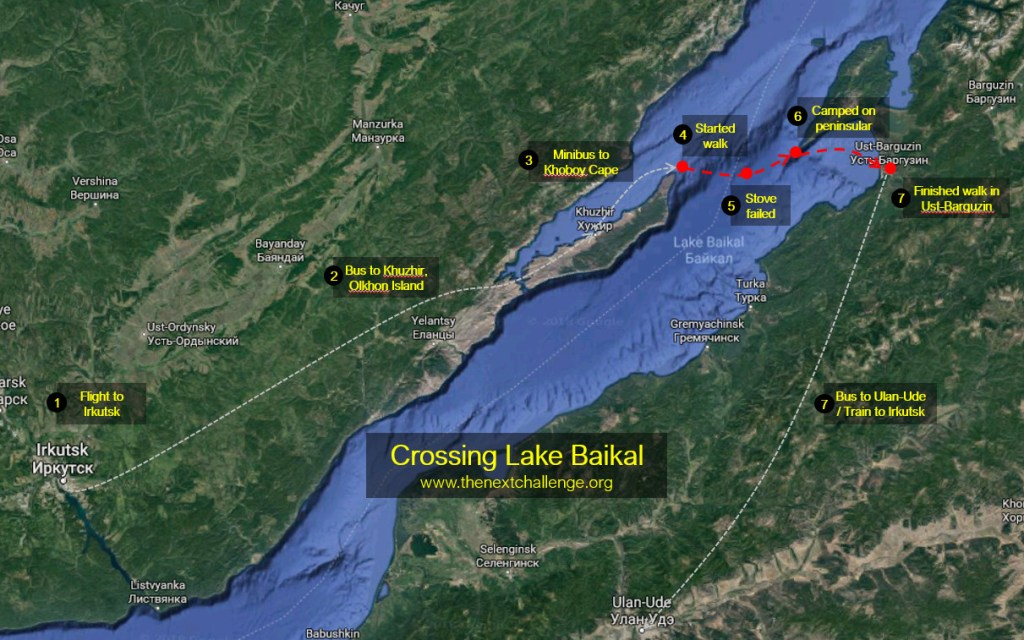 Crossing Lake Baikal - Expedition map