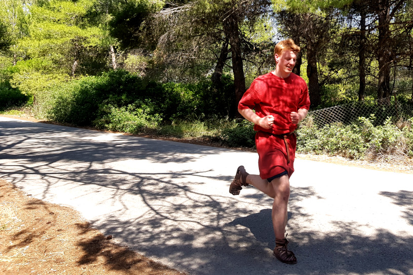 Joshua Powell - Running a Marathon in full Greek garb