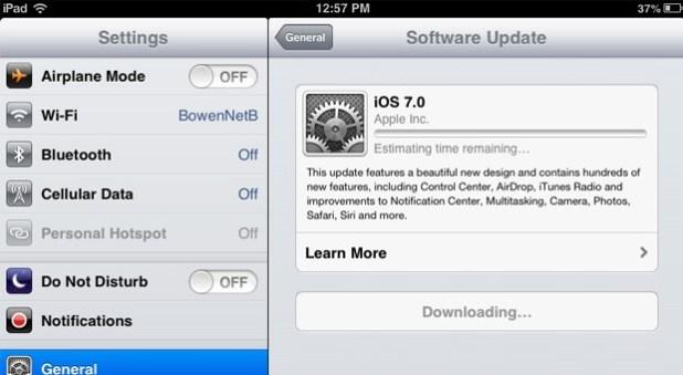 Screenshot of iOS 7 software update screen taken on an iPad