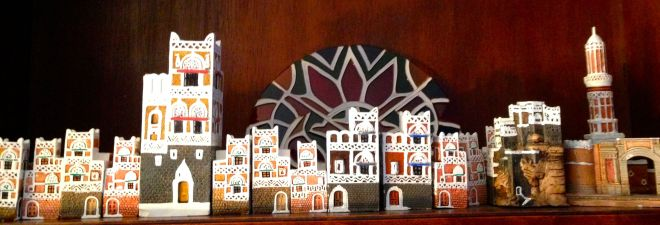 """These are replicas of the """"gingerbread"""" houses common in the Old City of Sana'a, Yemen."""