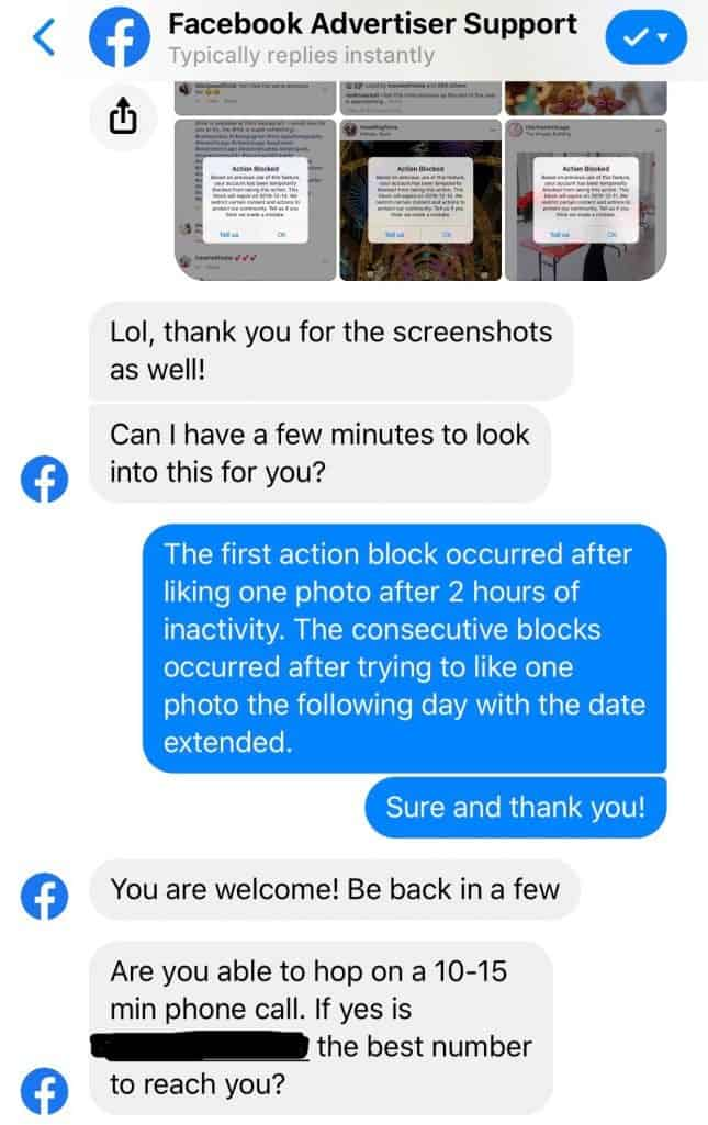 Chat with Facebook Support to Unblock Instagram Action Block
