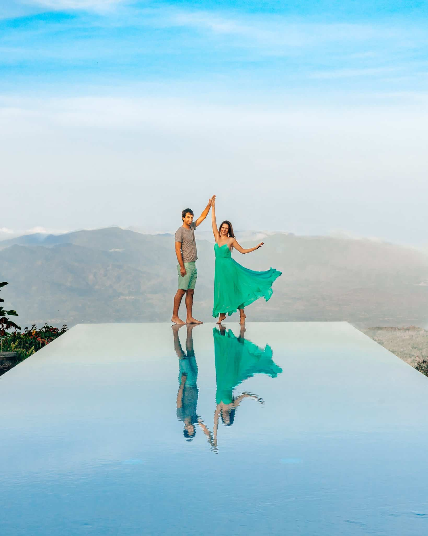 Bettina and Kyle at Munduk Moding Plantation Infinity Pool in Bali - The Next Trip