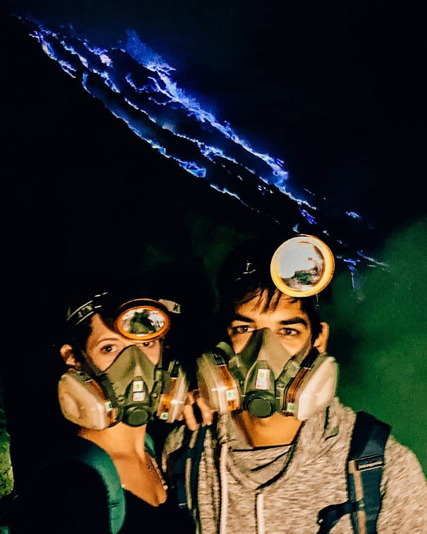 Selfie with the Blue Flames on Mount Ijen - The Next Trip