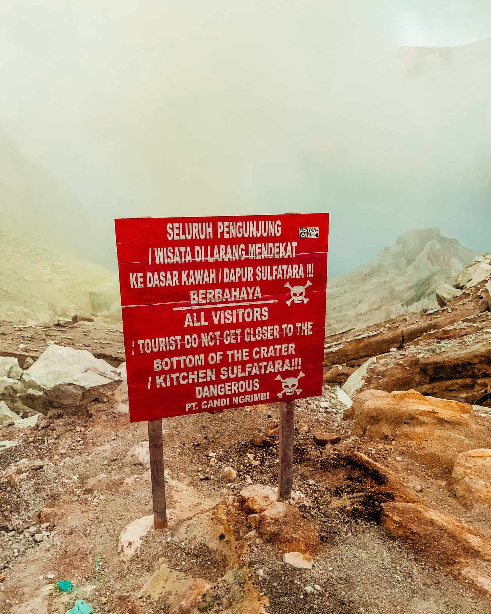 Warning Sign at Mount Ijen, East Java - The Next Trip