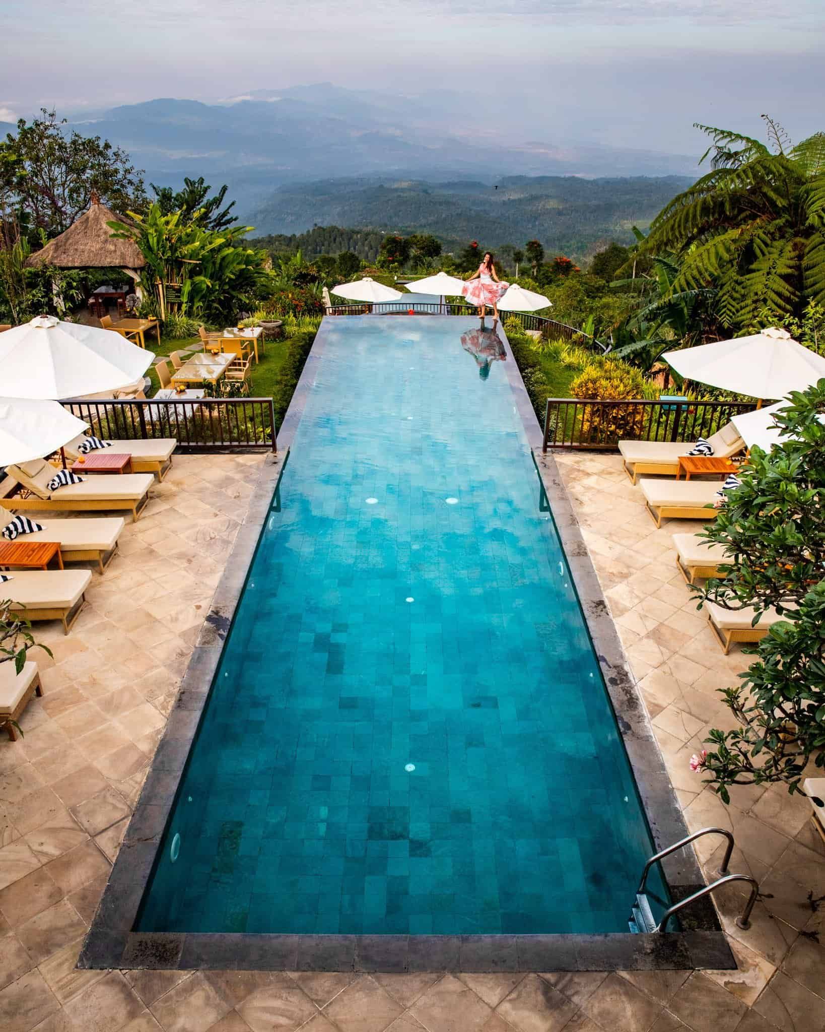 View of Infinity Pool at Munduk Moding Plantation Bali - The Next Trip