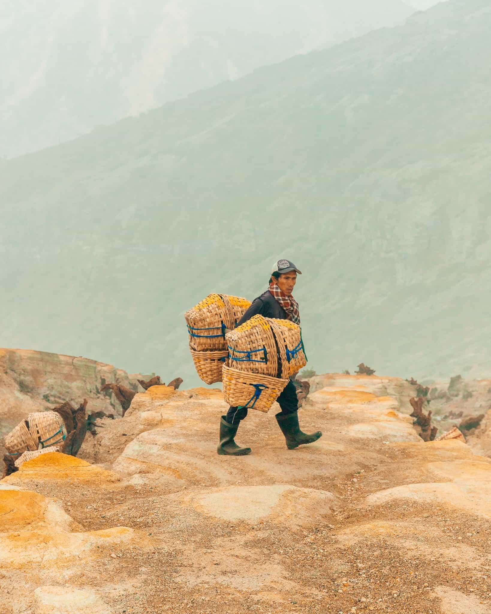 Sulfur Mine Worker on Mount Ijen, East Java - The Next Trip