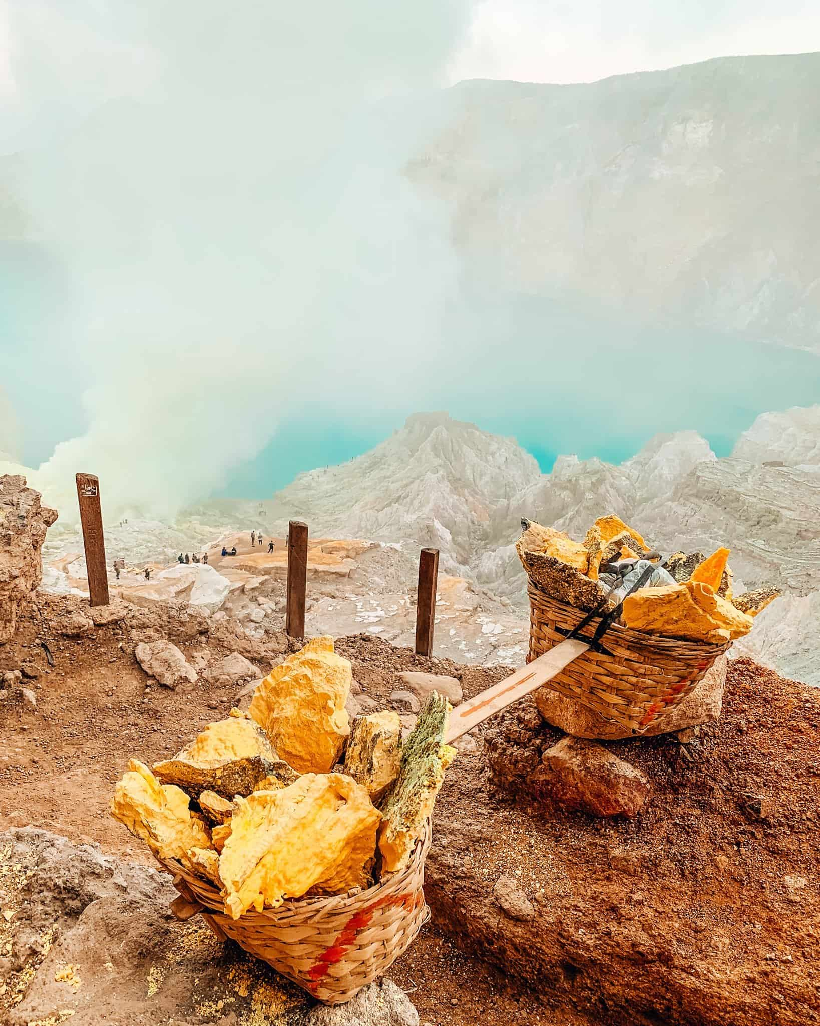 Sulfur Pieces from Mount Ijen, East Java - The Next Trip