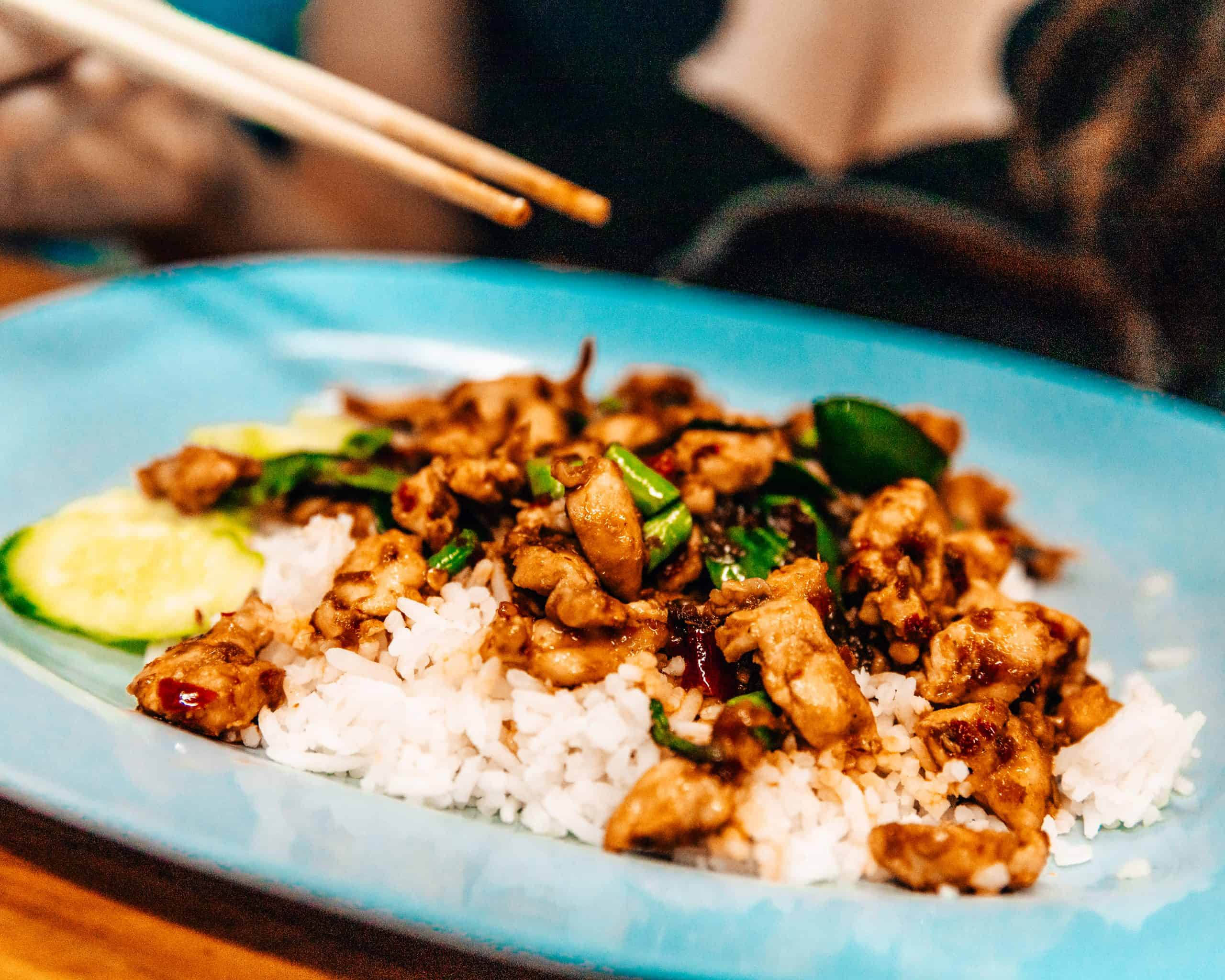 Basil Chicken Thai Food at Chatachuk Weekend Market - The Next Trip