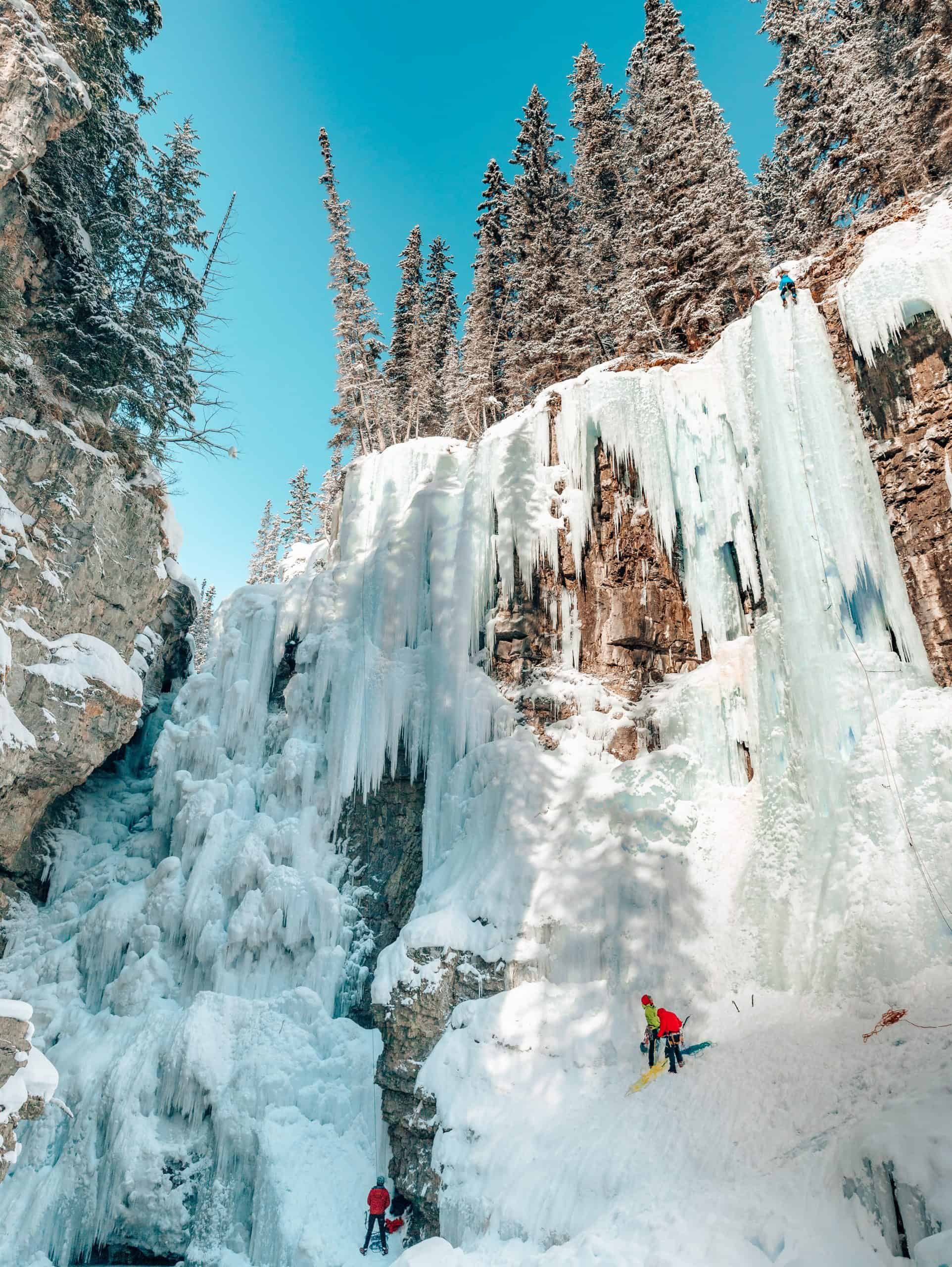 Ice Climbers on Upper Falls at Johnston Canyon - The Next Trip