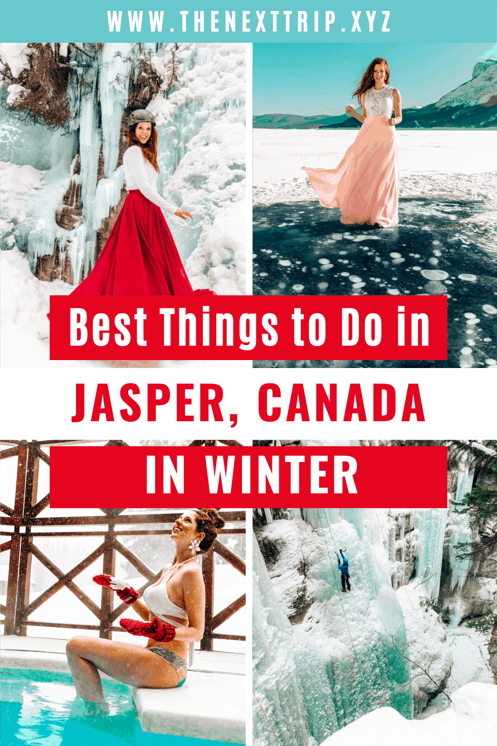 """The best things to do in Jasper in winter and your ultimate guide to Jasper National Park! Here is everything you need to know to plan your perfect winter getaway to Jasper, Canada. Explore the frozen lake bubbles at Abraham Lake, go on the Maligne Canyon Icewalk, drive the Icefields Parkway, and warm up at the hot tub at Pyramid Lake Resort! 