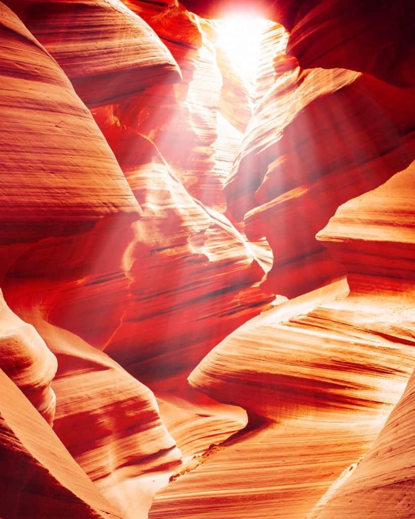 Sunrays shining through lower Antelope Canyon Arizona