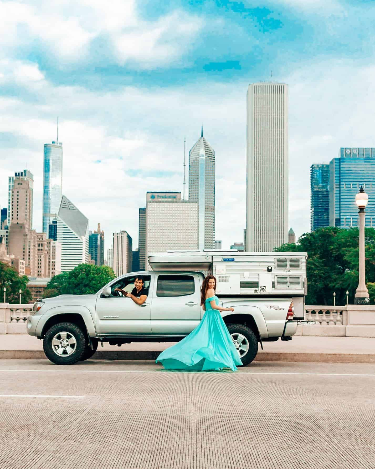 Toyota Tacoma and Four Wheel Camper Swift Model and Chicago Skyline - Living in a Camper