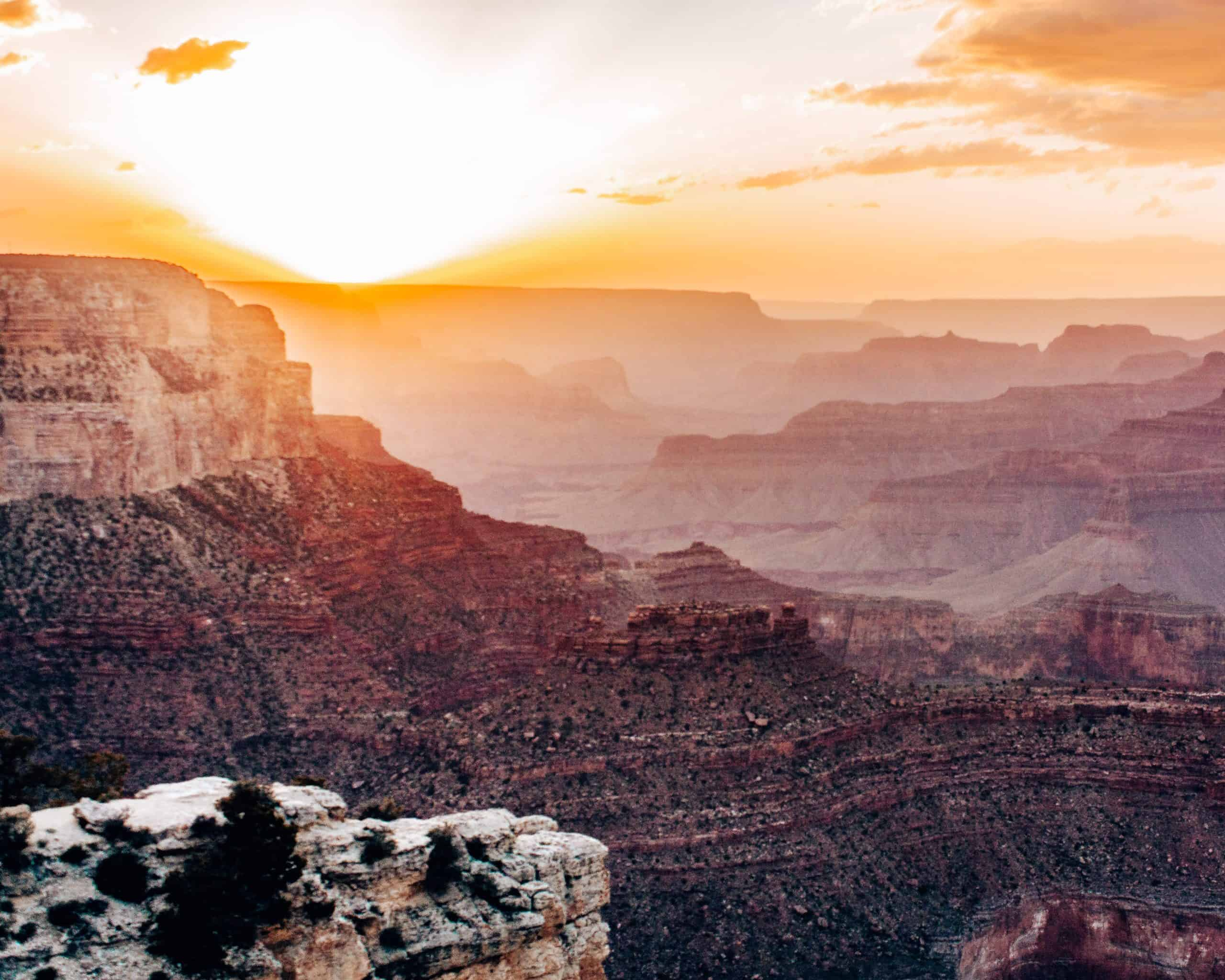 Sun Setting over the Grand Canyon South Rim in Arizona