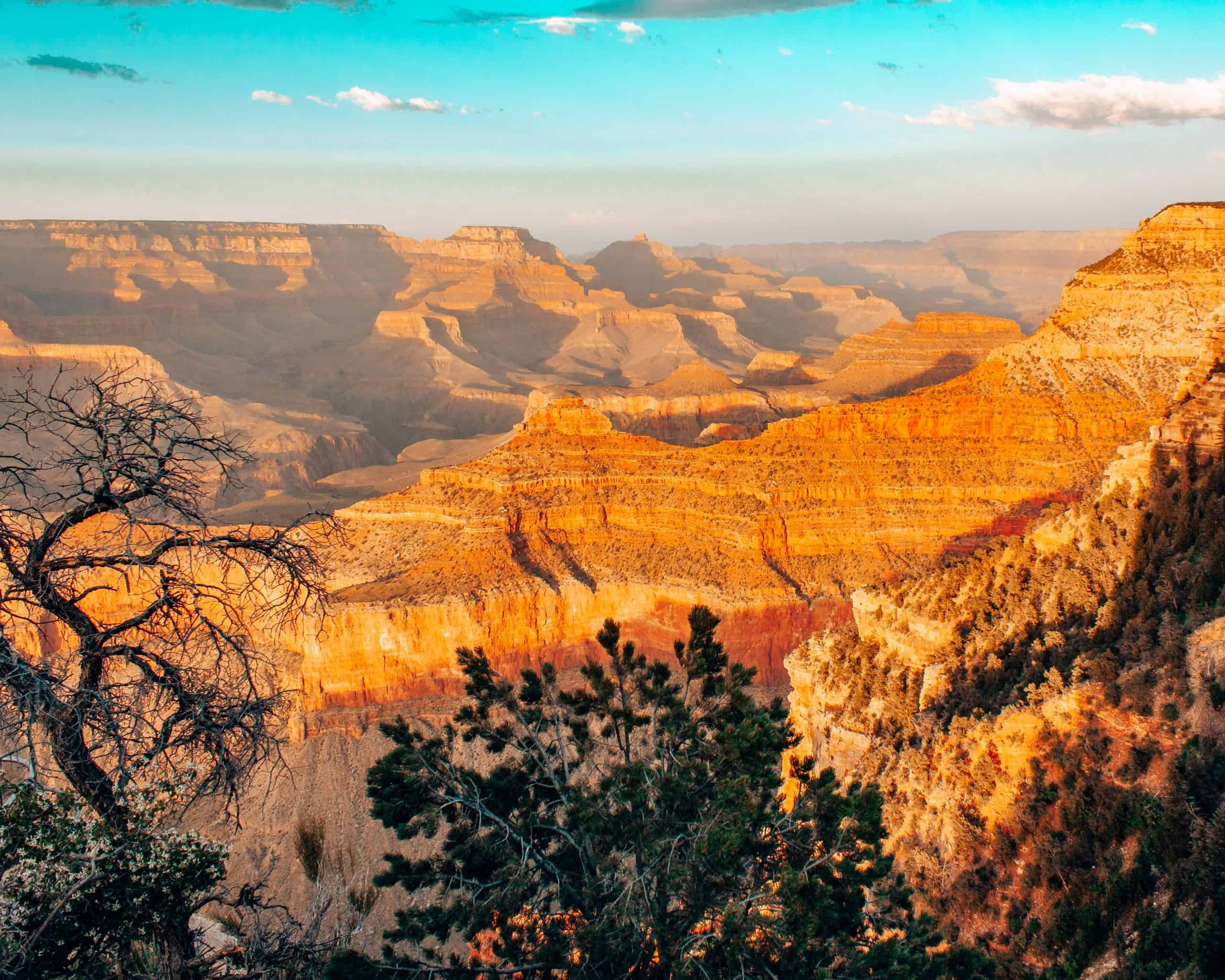 Golden Light at Sunset at Grand Canyon South Rim in Arizona