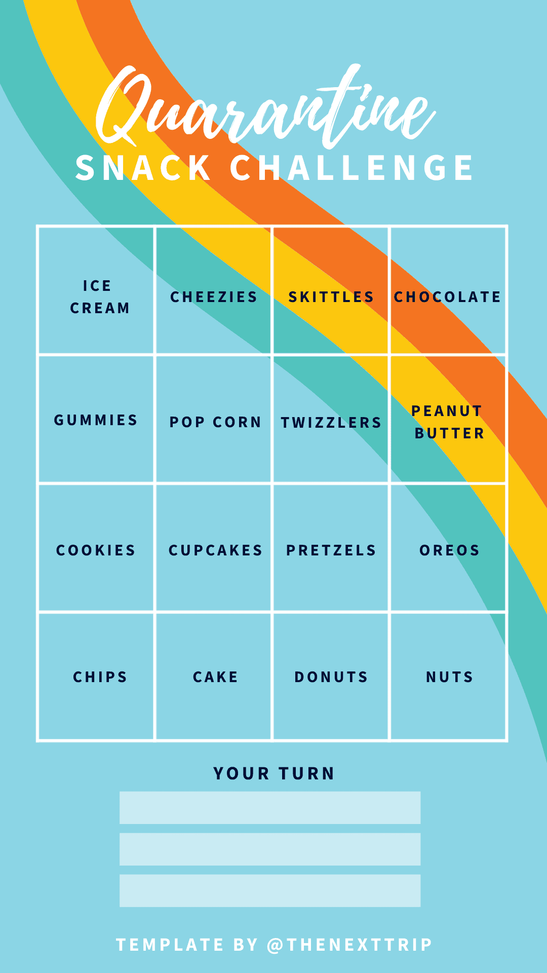Instagram Story Template Quarantine Snack Challenge