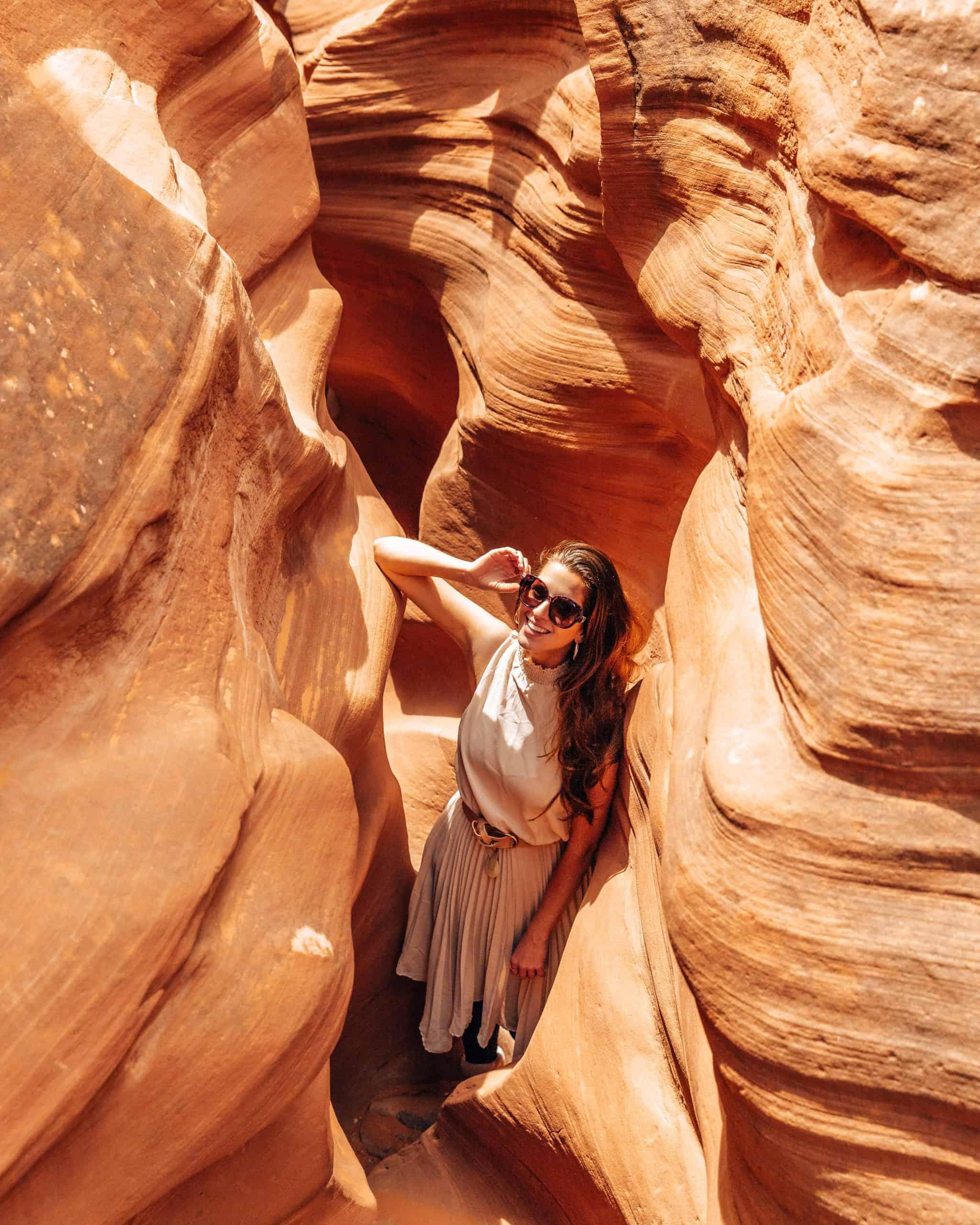 Girl in Peek-A-Boo Canyon Utah