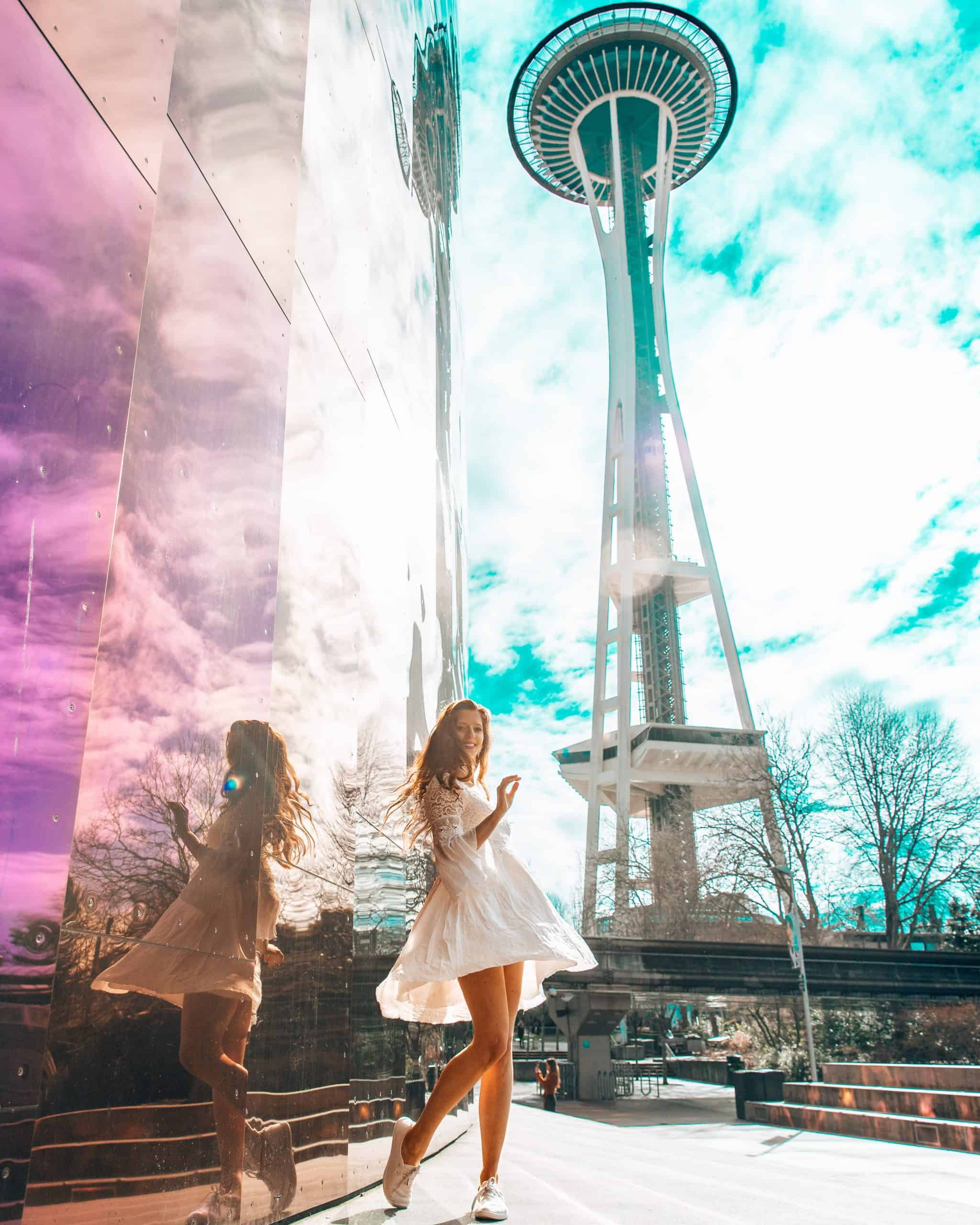 Twirling in Front of Space Needle in Seattle