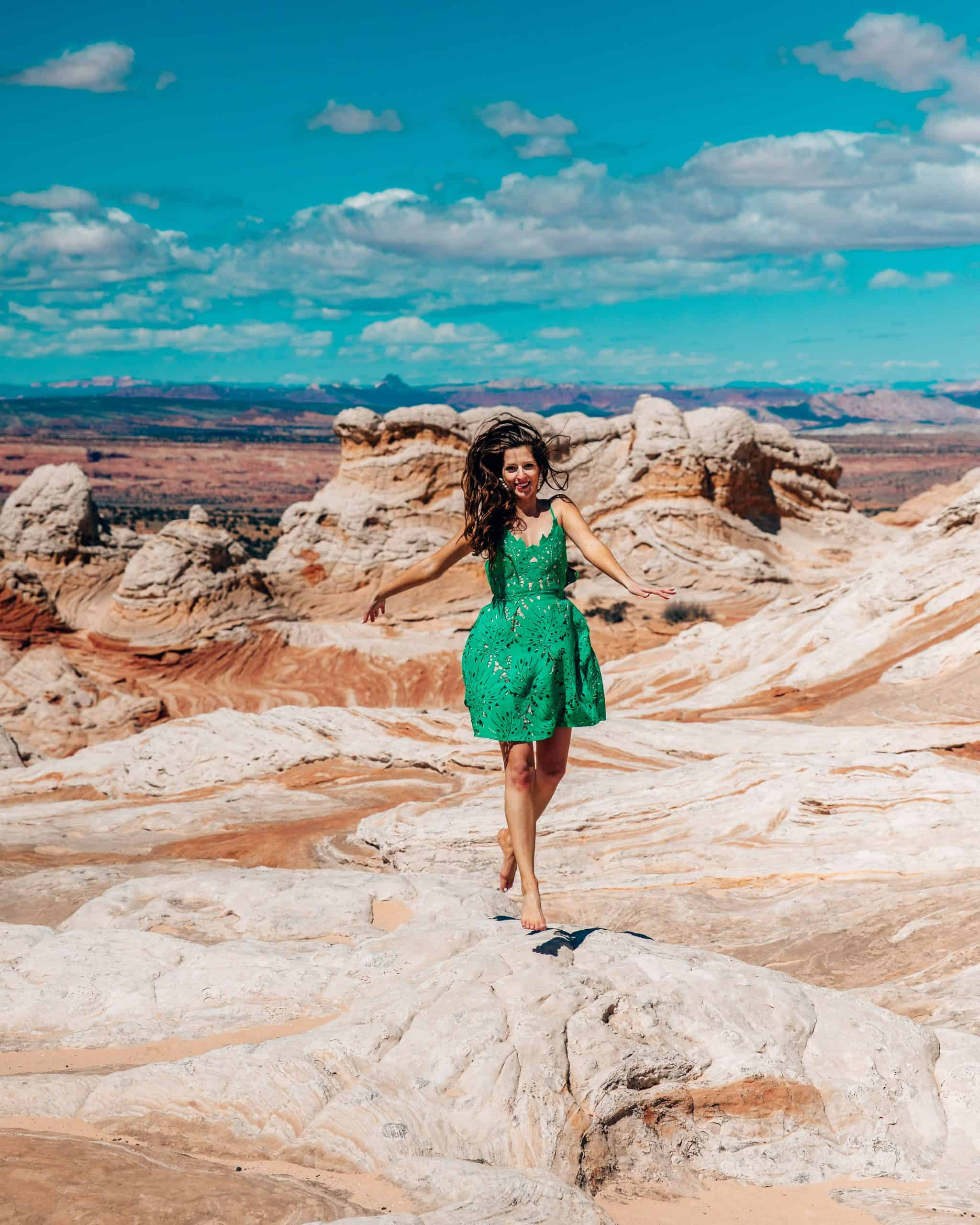 Girl Jumping at White Pocket Arizona