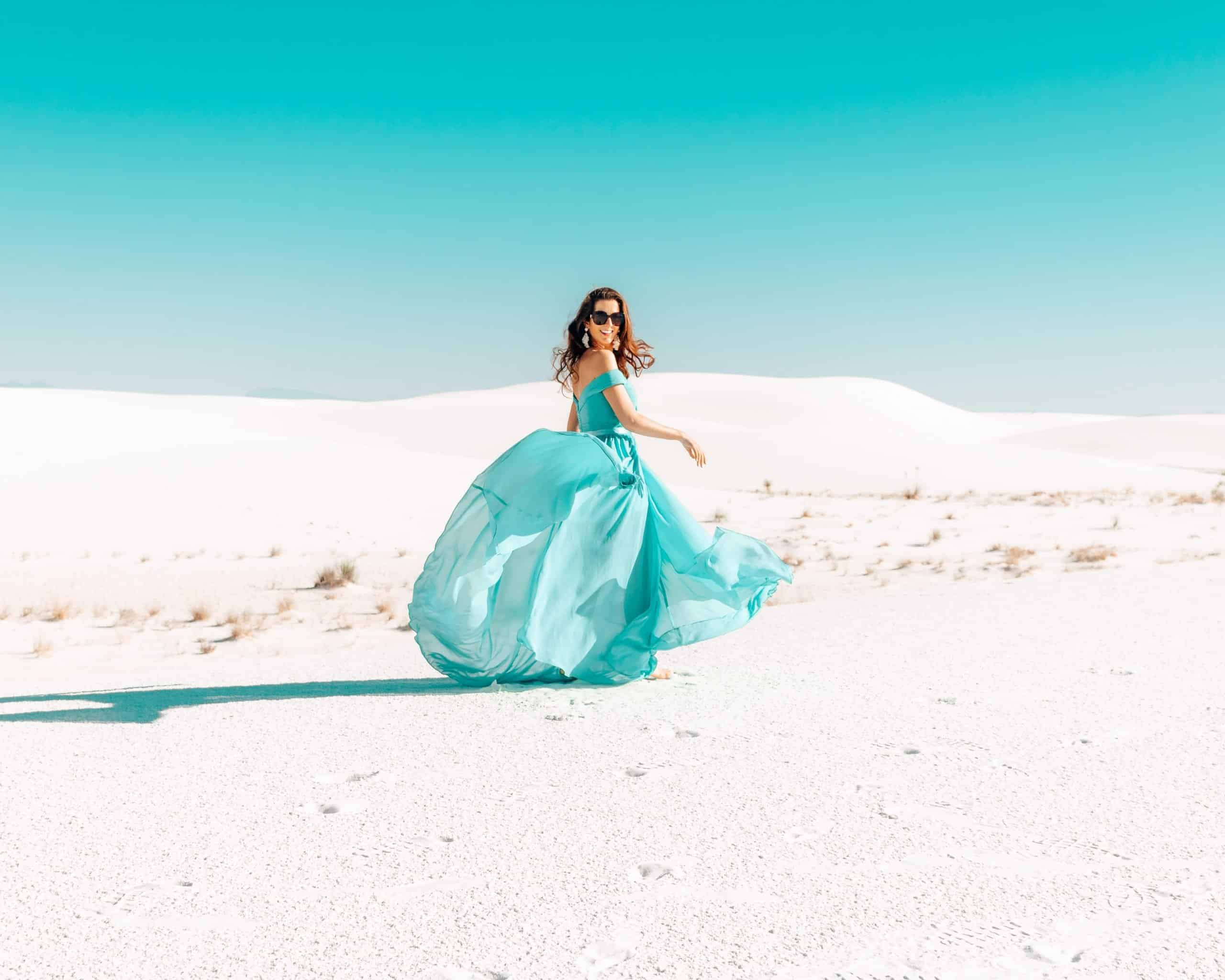 Girl in Dress at White Sands National Monument