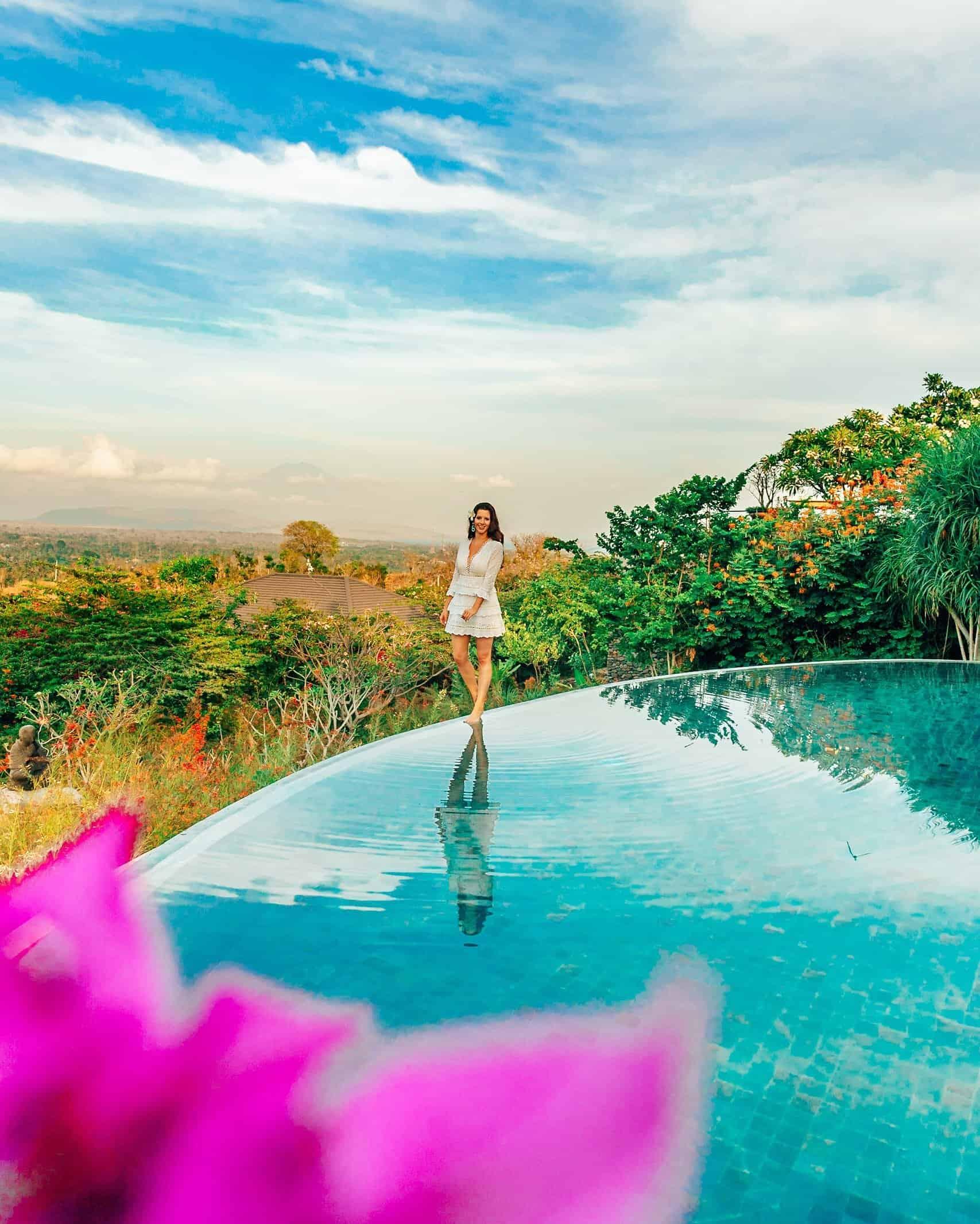 Bettina Walking on Infinity Pool Sumberkima Bali