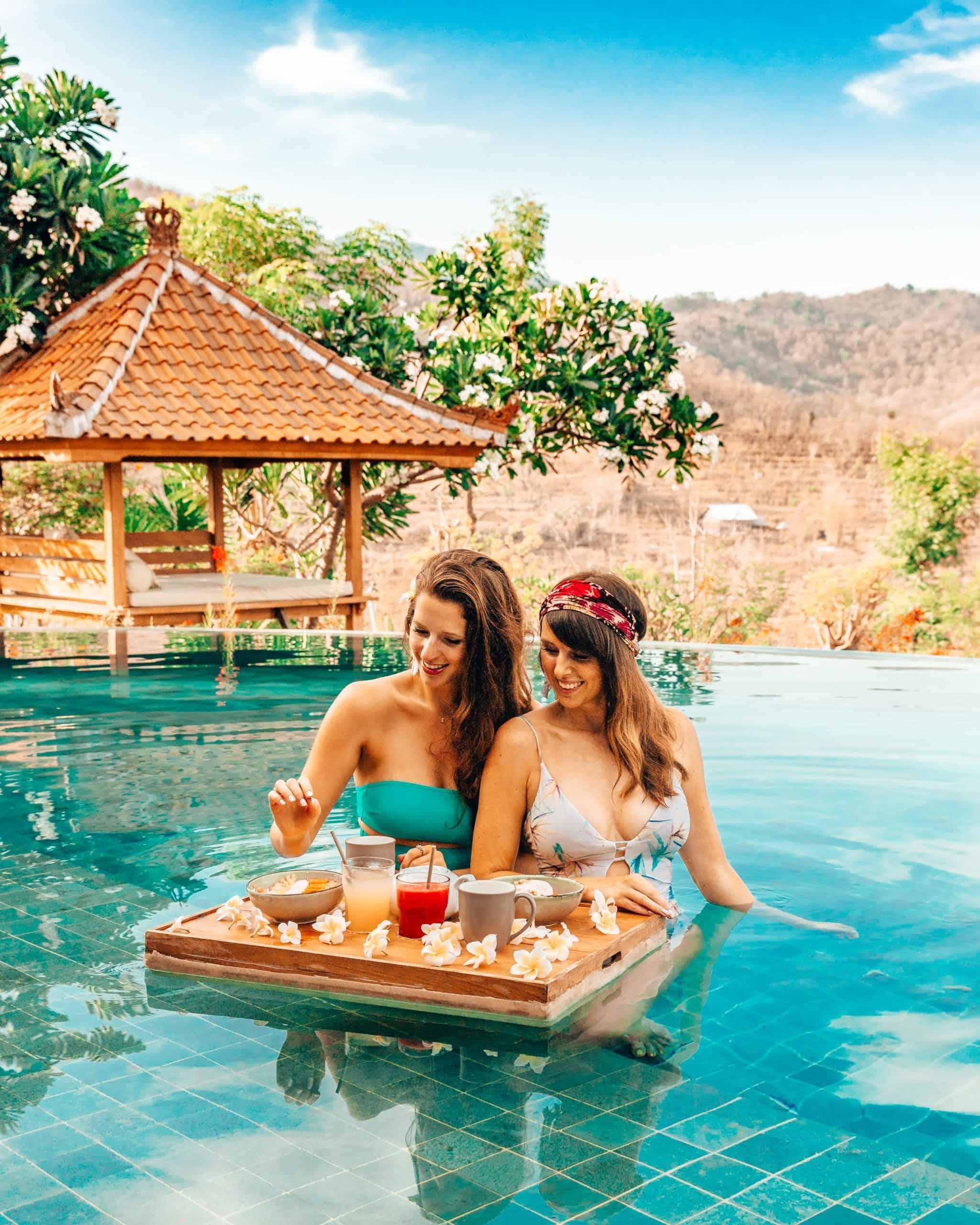 Bettina and Talia Having Floating Breakfast Sumberkima Bali