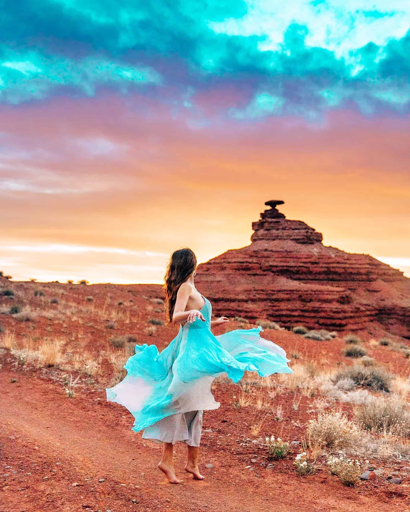 Bettina Twirling at Mexican Hat Utah