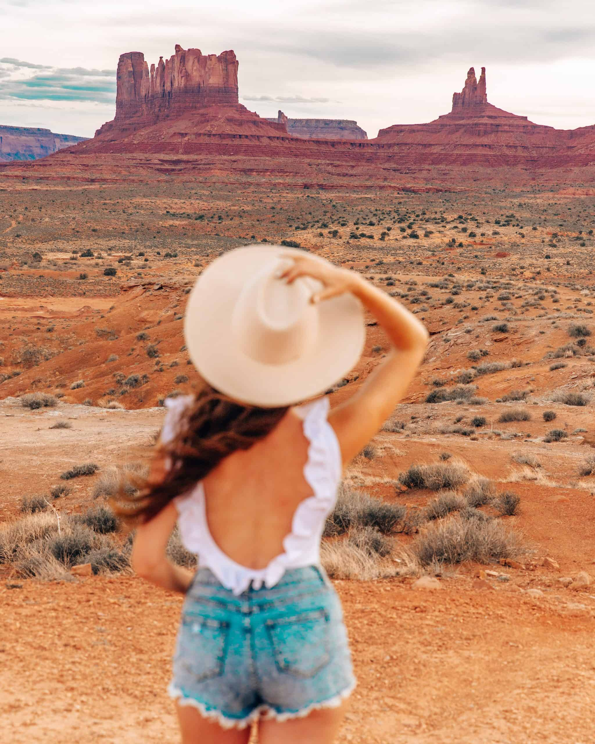 Girl looking at Monument Valley Utah