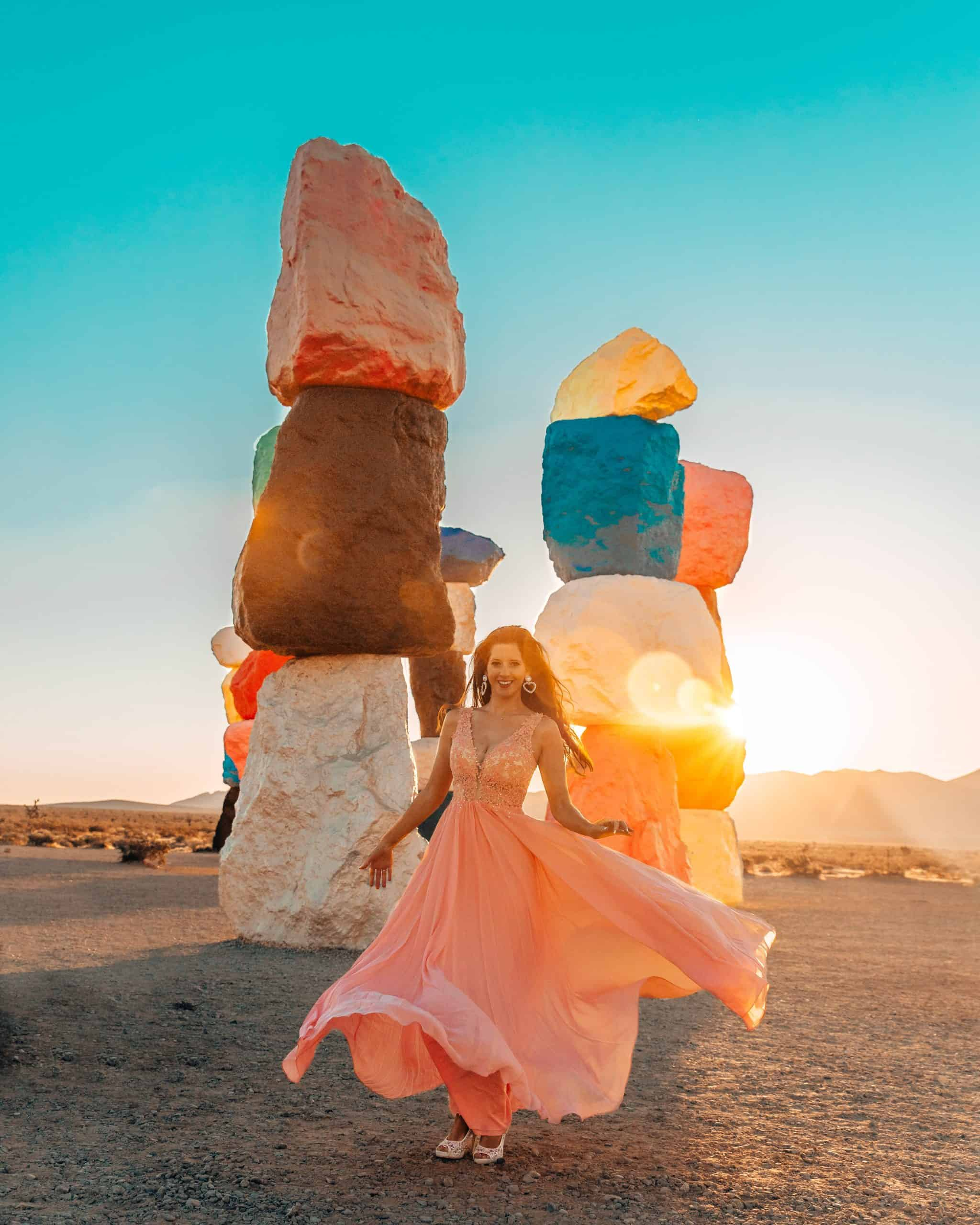 Twirling at Sunrise at Seven Magic Mountains Nevada