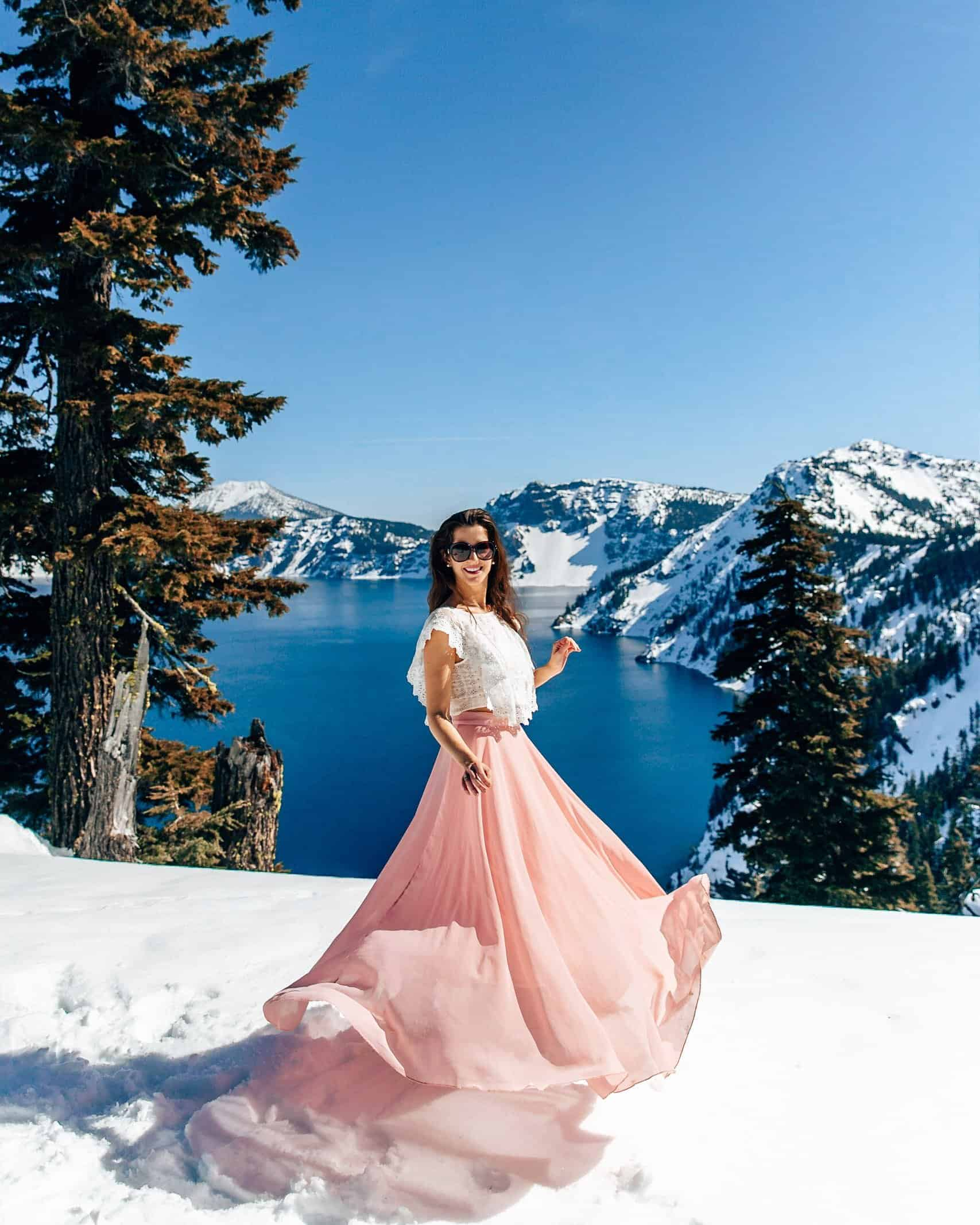 Bettina twirling at Crater Lake in Oregon