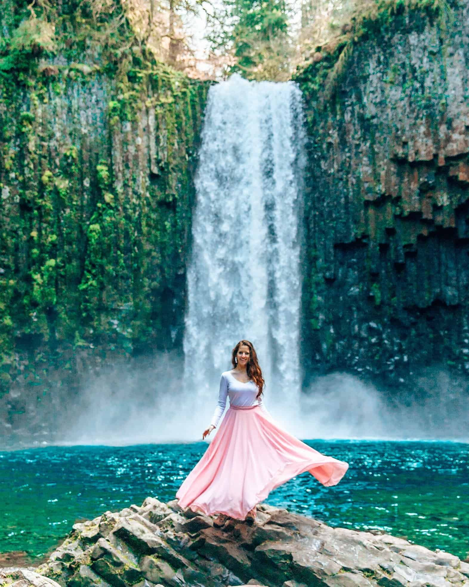 Bettina twirling at Abiqua Falls, Oregon