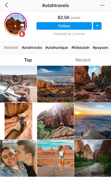 #utahtravels hashtag page featuring The Next Trip