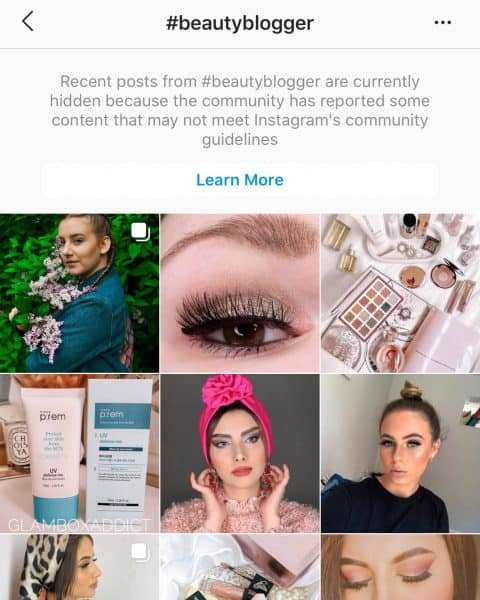 Screenshot of #beautyblogger on Instagram - Restricted Hashtag