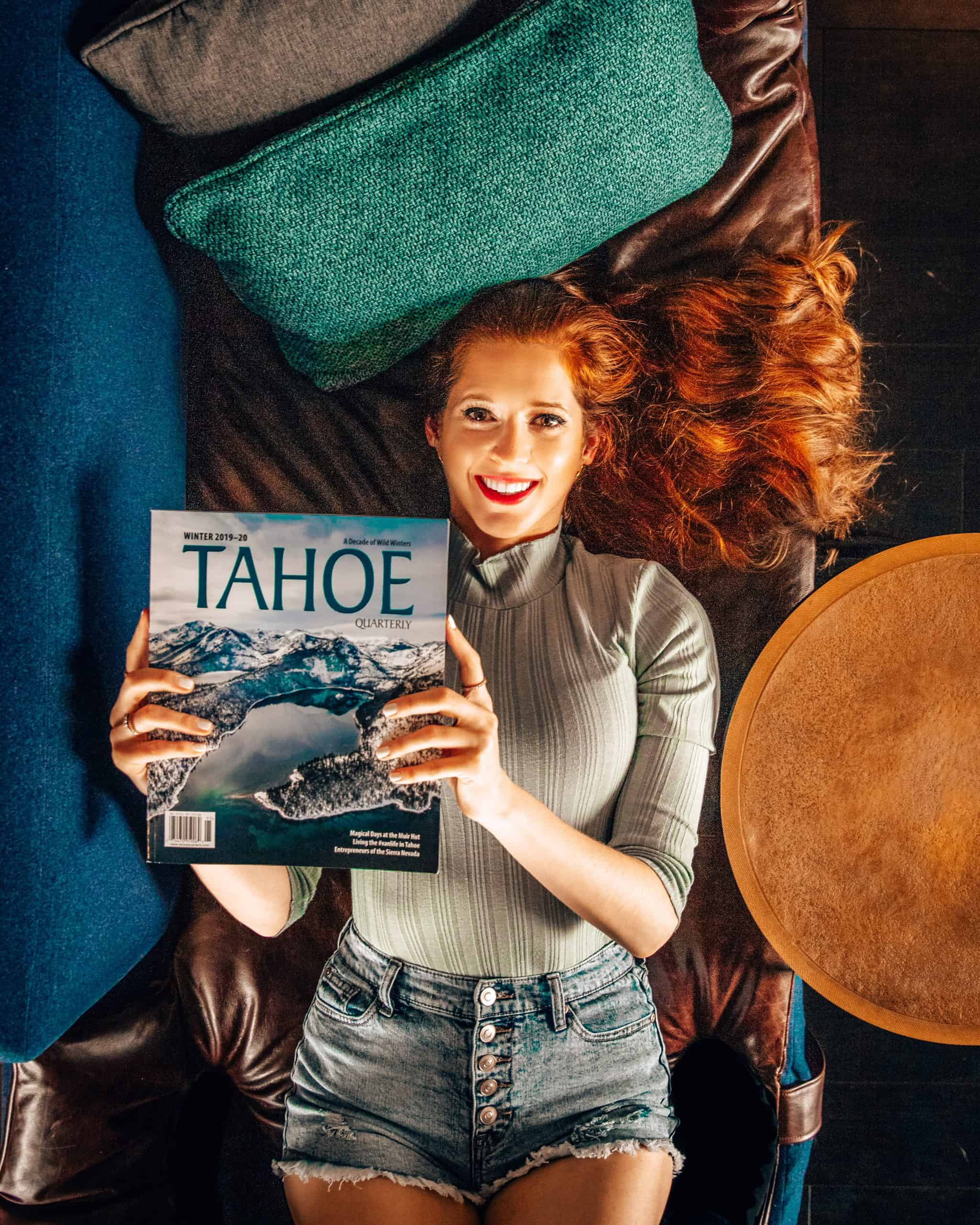 Bettina Holding Lake Tahoe Magazine