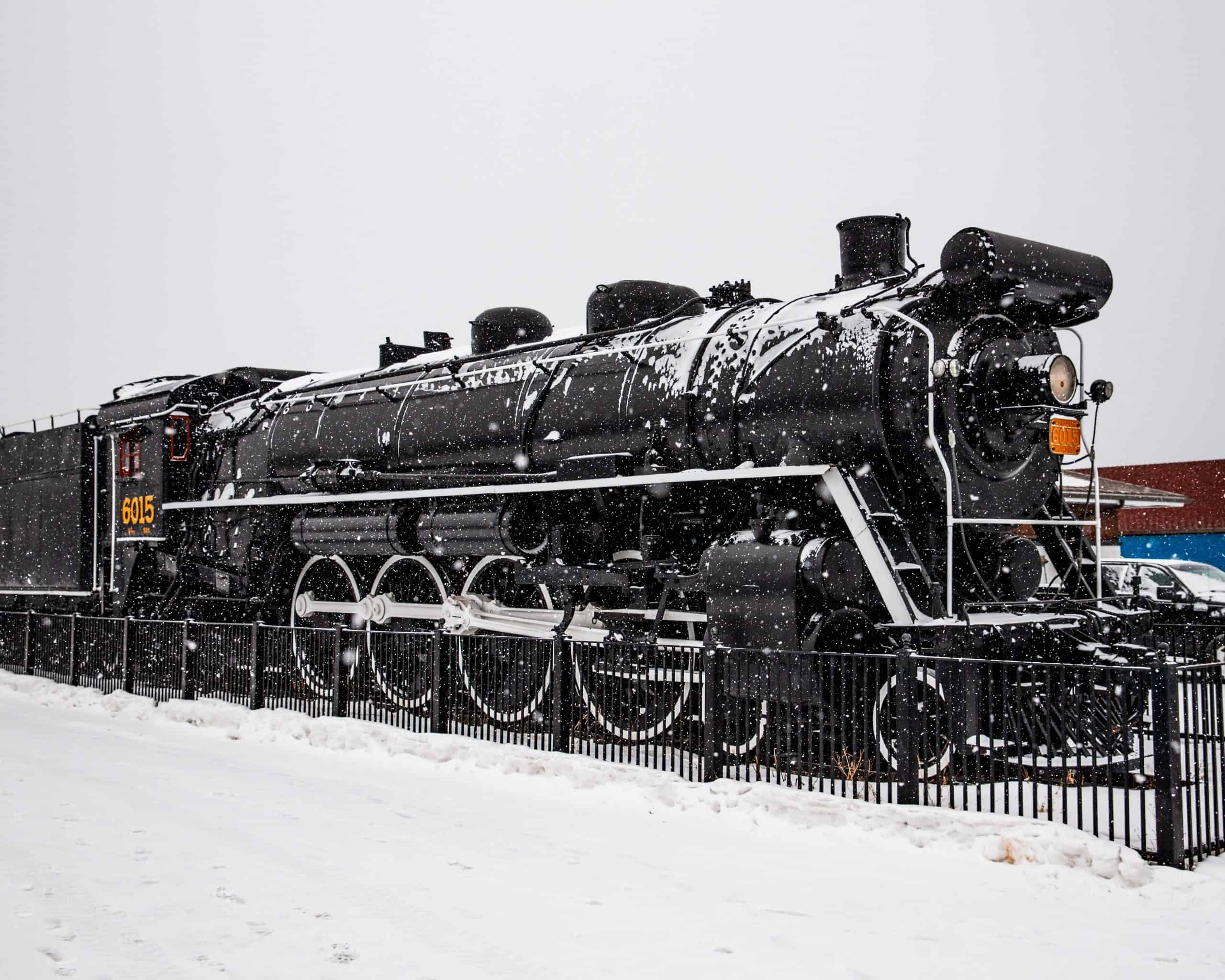 Canadian Rail Locomotive in the snow in Jasper, Canada