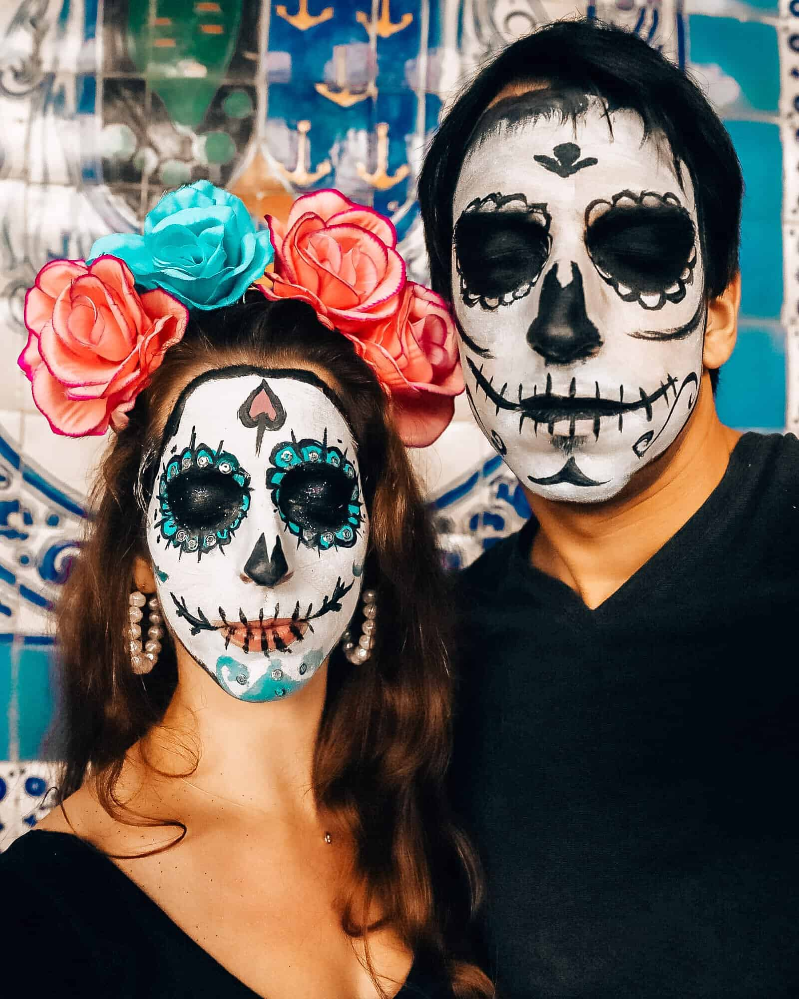 Bettina and Kyle with Day of the Dead Face Painting Mexico City