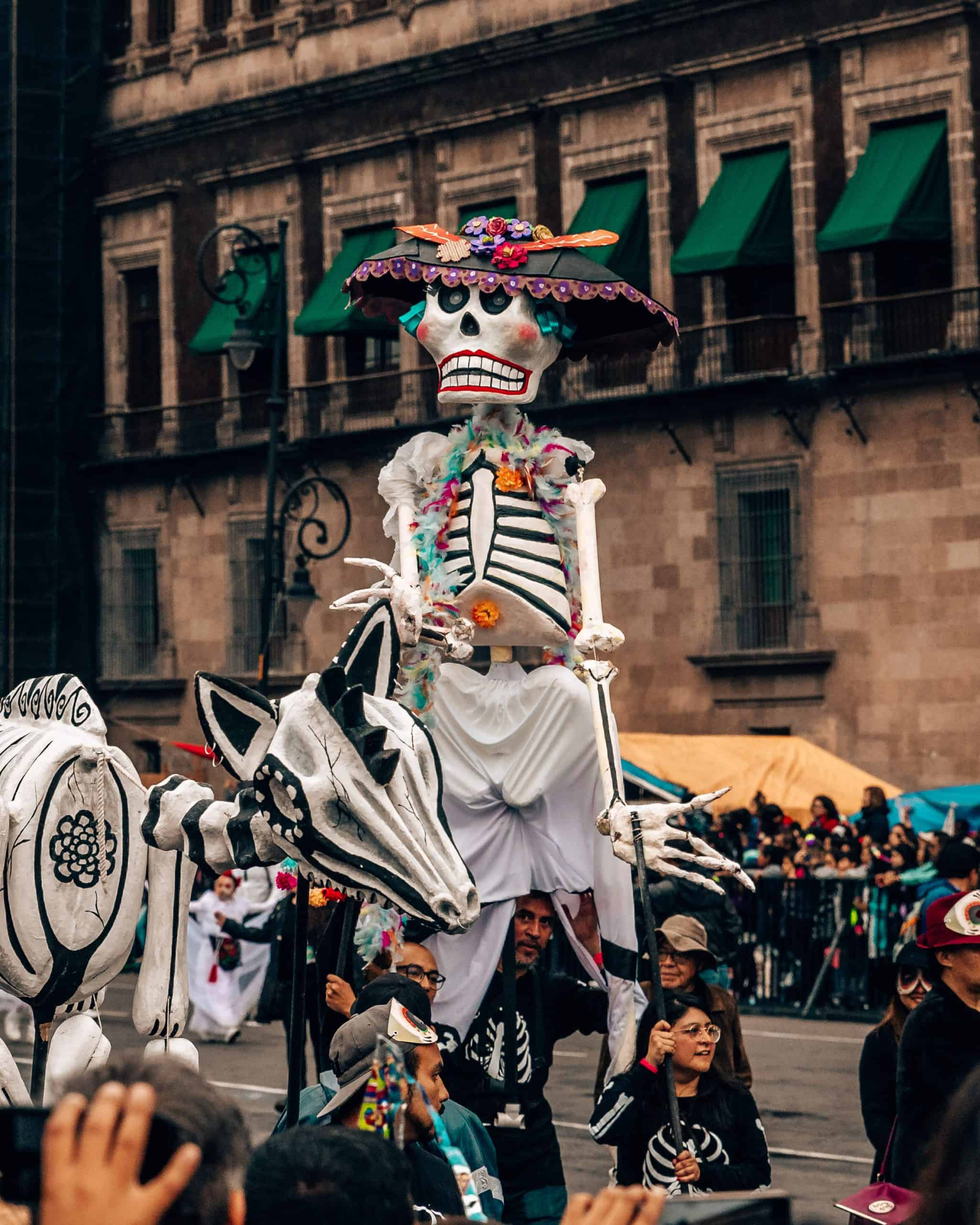 Skeleton at Day of the Dead Parade Mexico City
