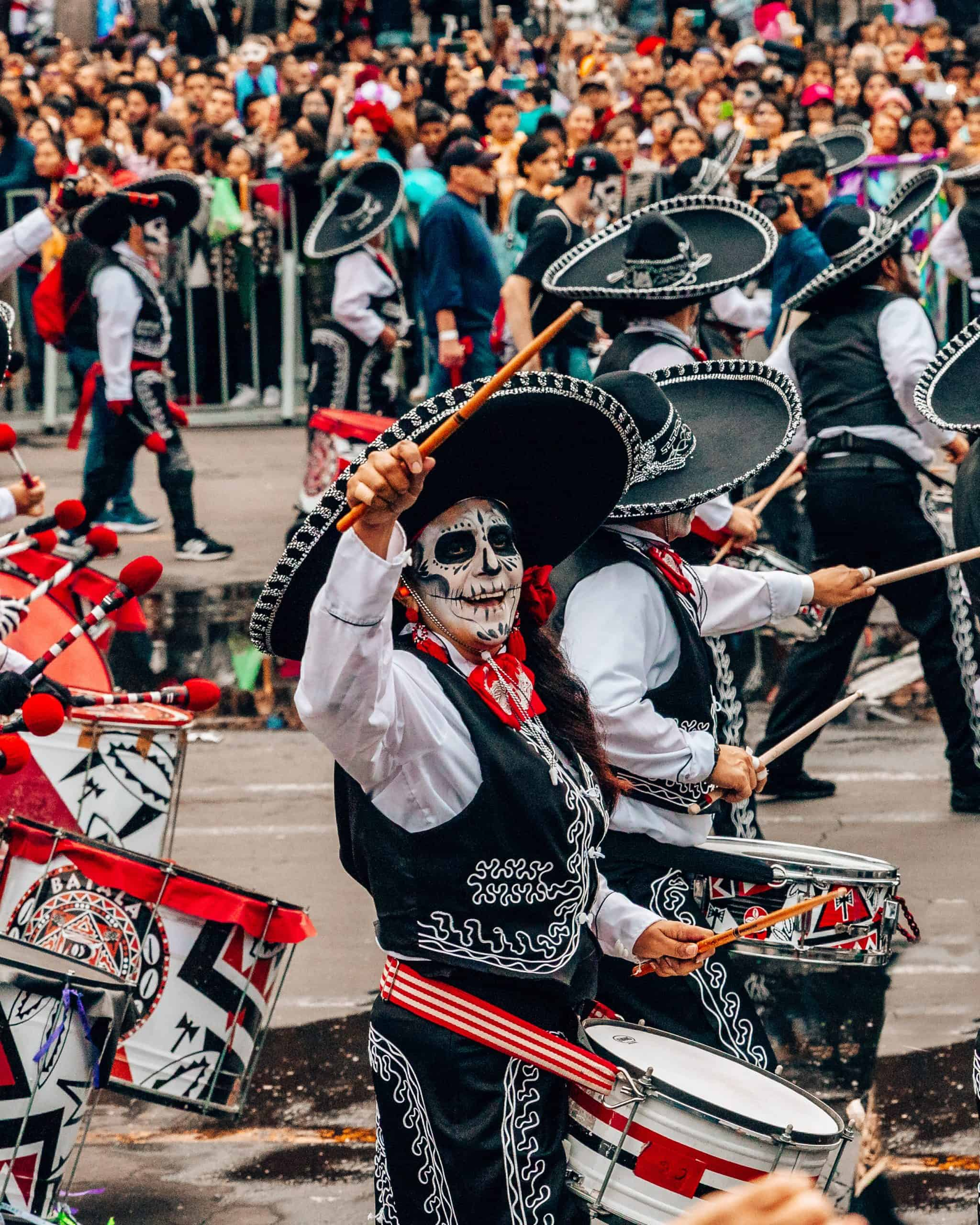Drummer at Day of the Dead Parade Mexico City