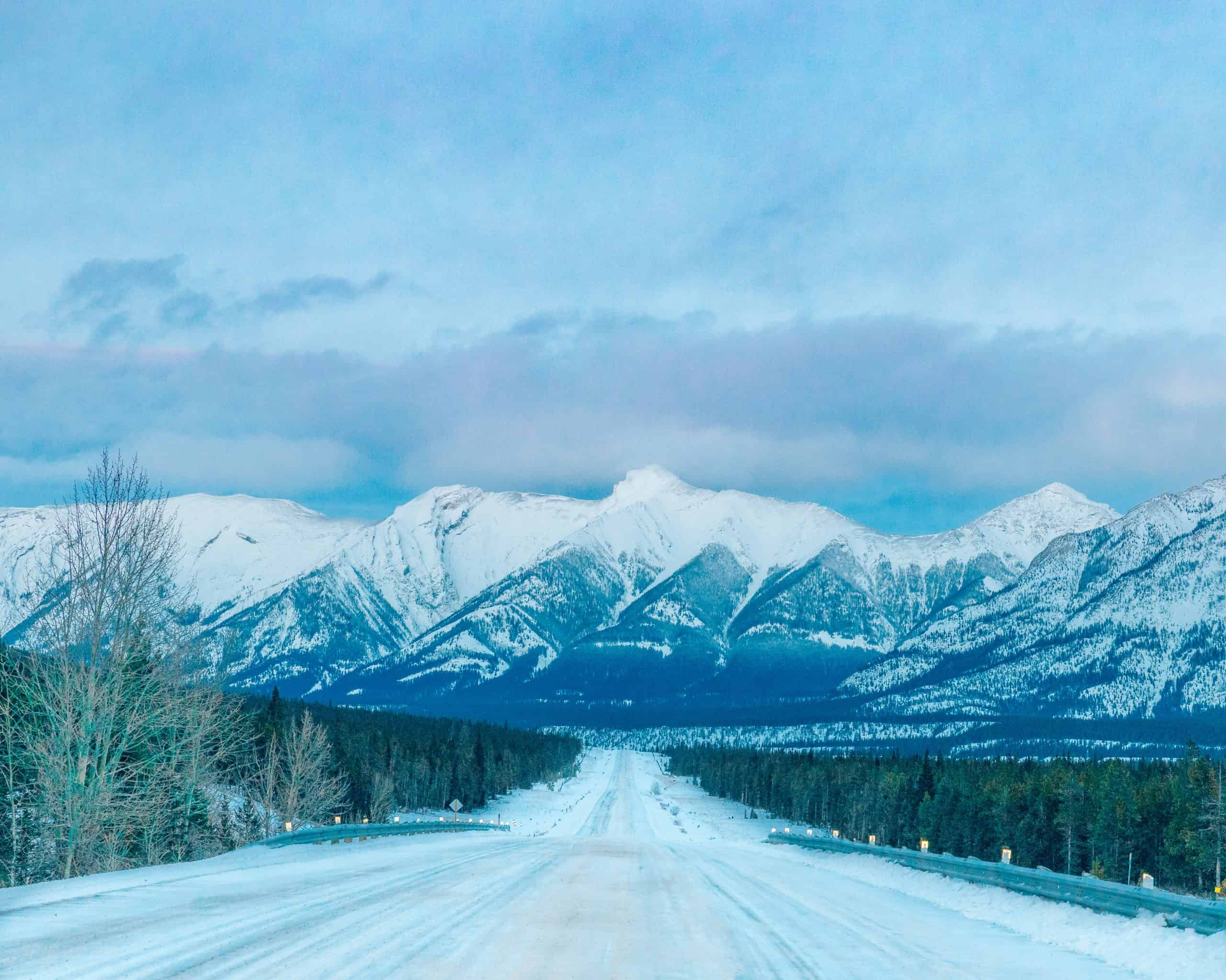 Snow Covered Icefields Parkway in with Mountain View in Winter