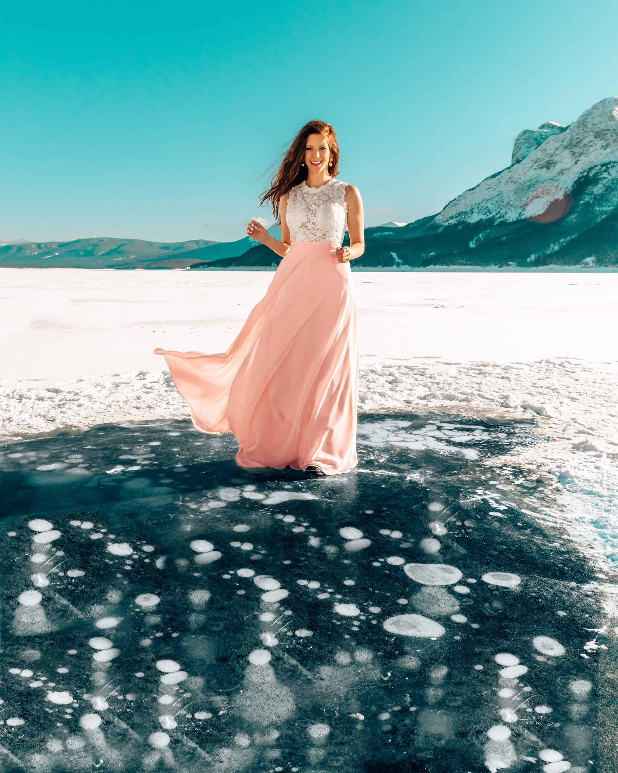 Frozen Bubbles at Abraham Lake in Canada - Best Things to do in Jasper in Winter