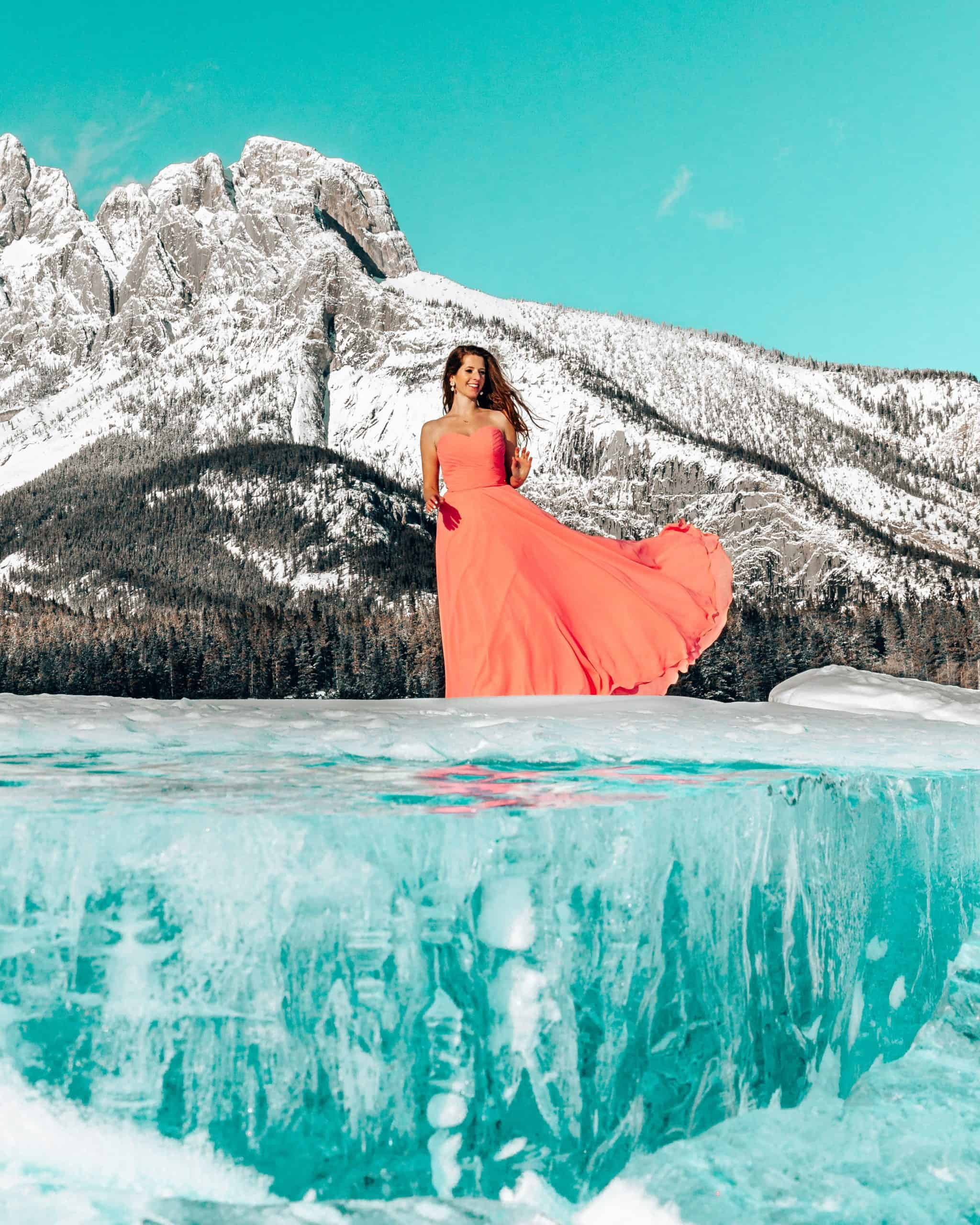 Bettina at Abraham Lake - Best Things to do in Jasper in Winter