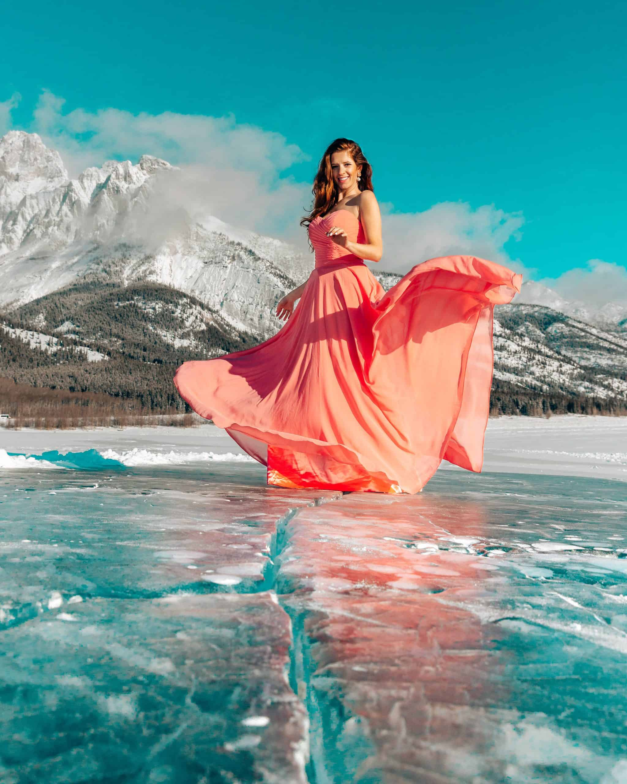 Bettina Standing on Frozen Abraham Lake in Canada