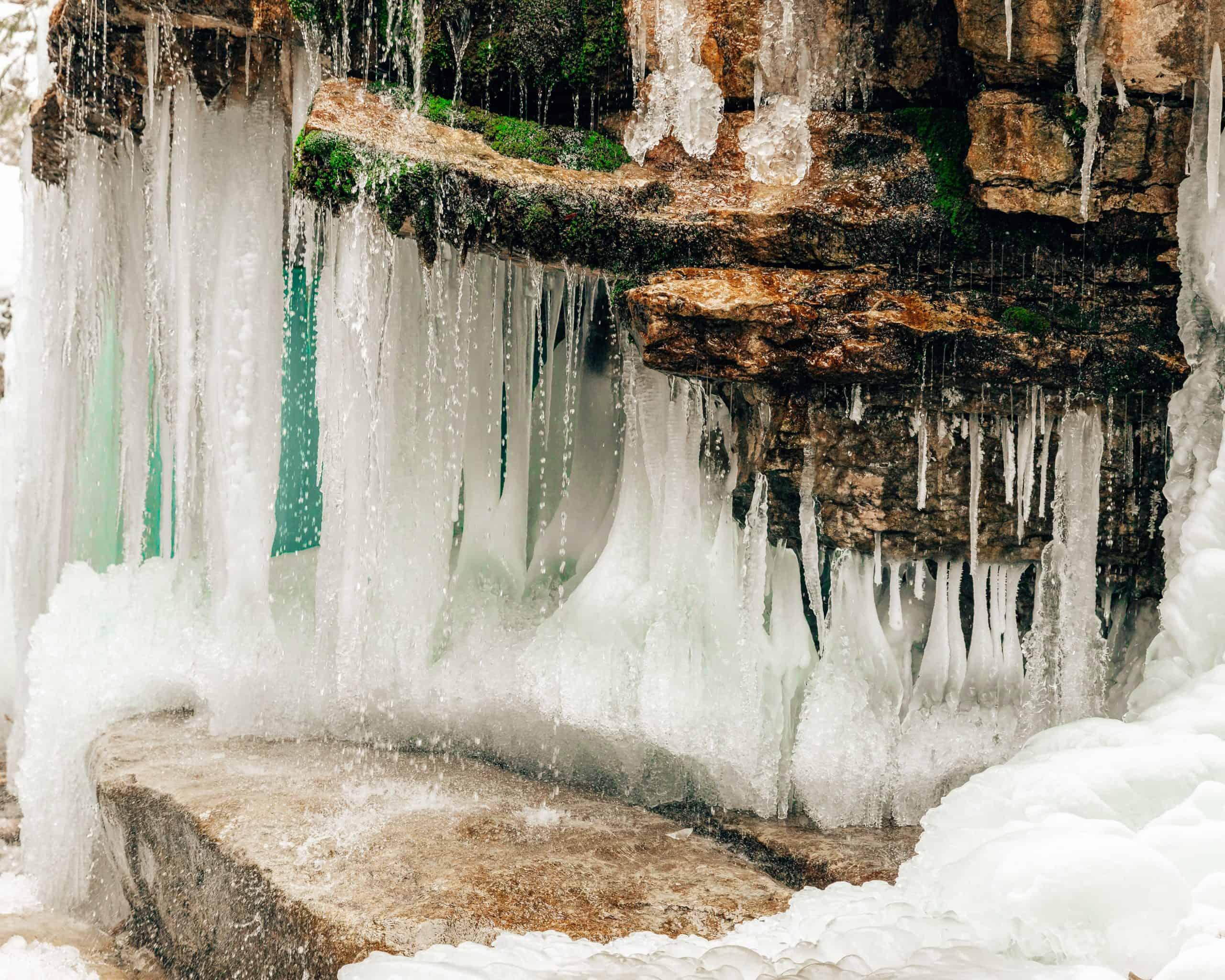 Frozen Waterfall at Maligne Canyon, Canada