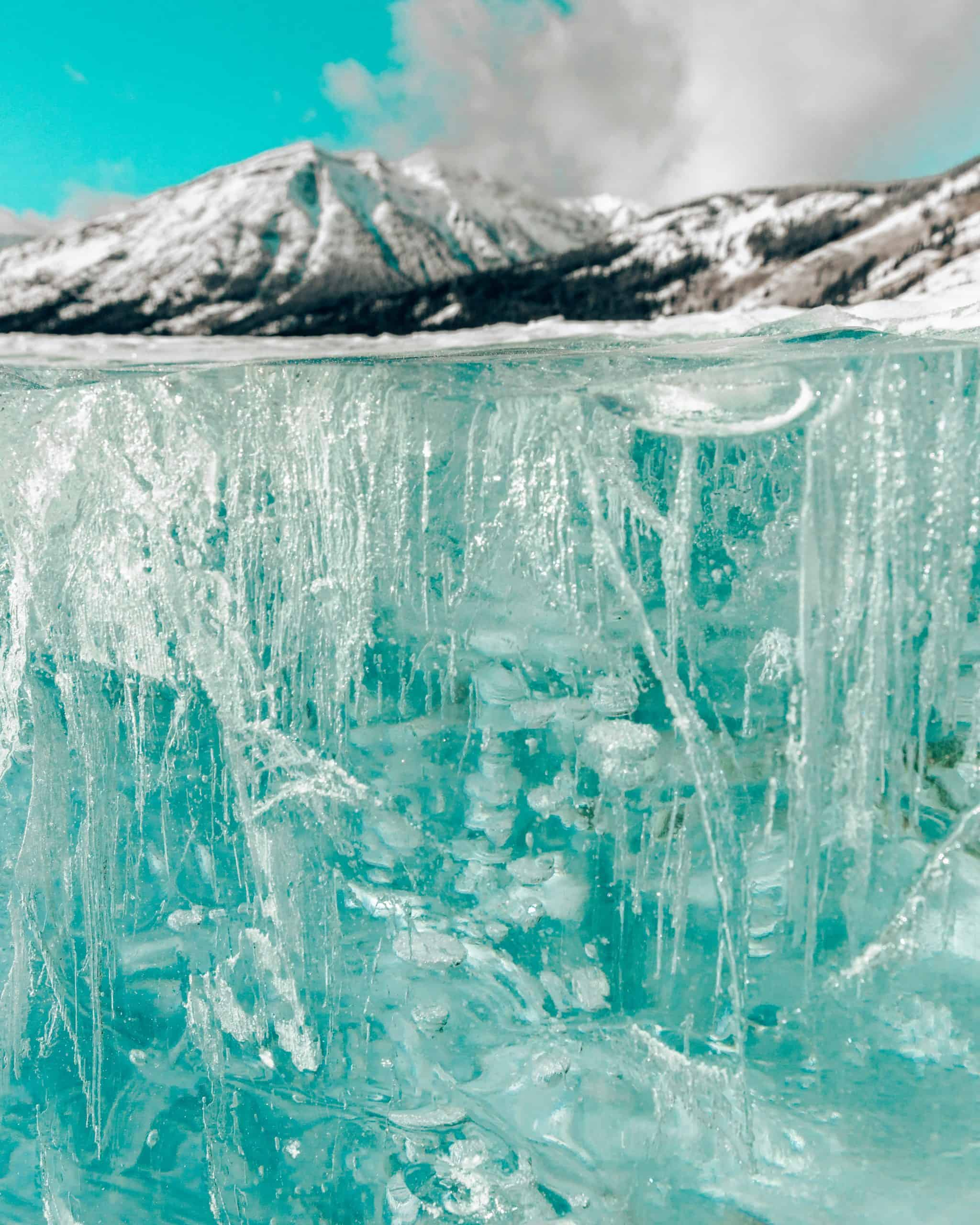 Frozen Methane Bubbles in Ice Sheet at Abraham Lake Canada - Best Things to do in Jasper in Winter