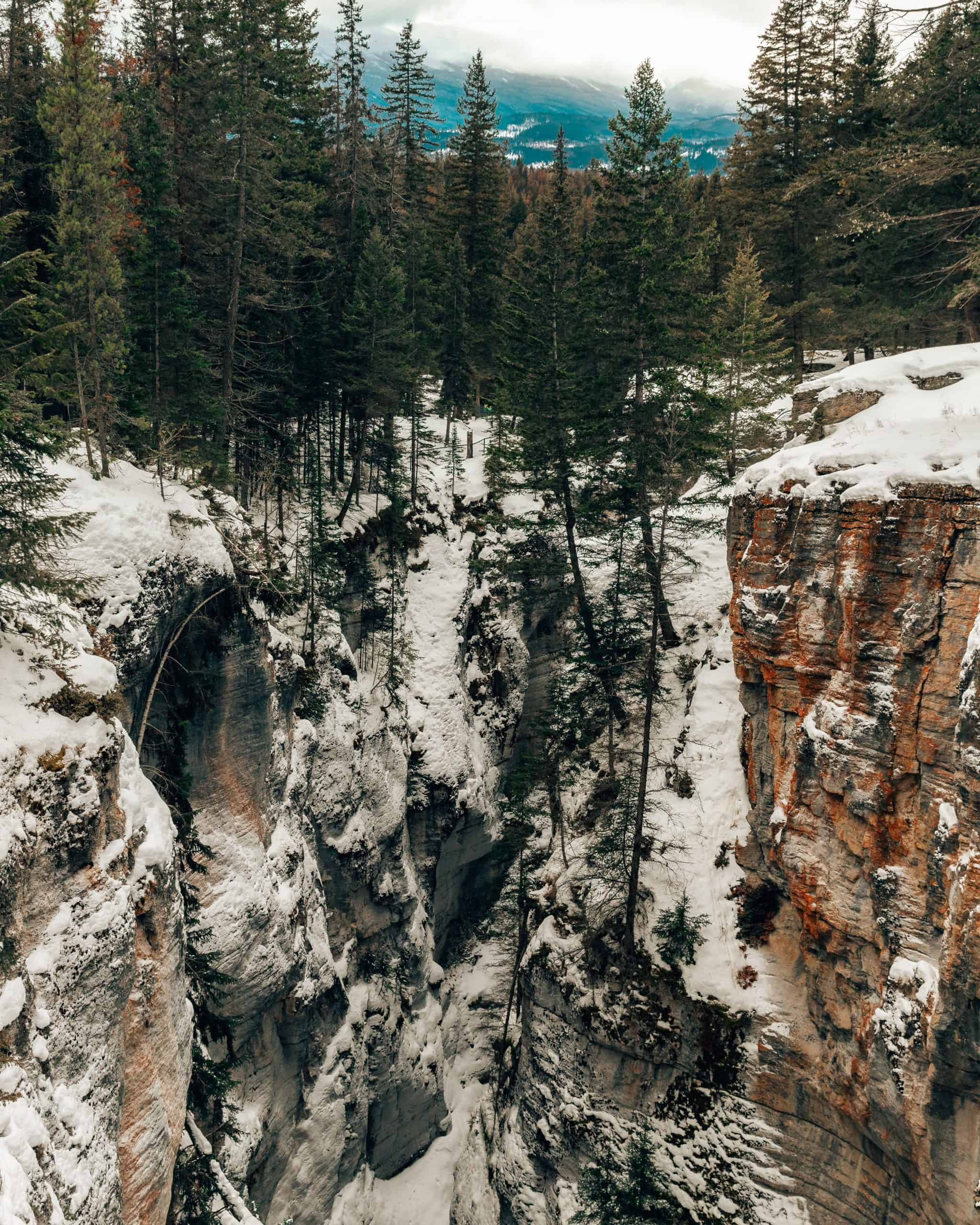 Maligne Canyon in Winter in Jasper, Canada